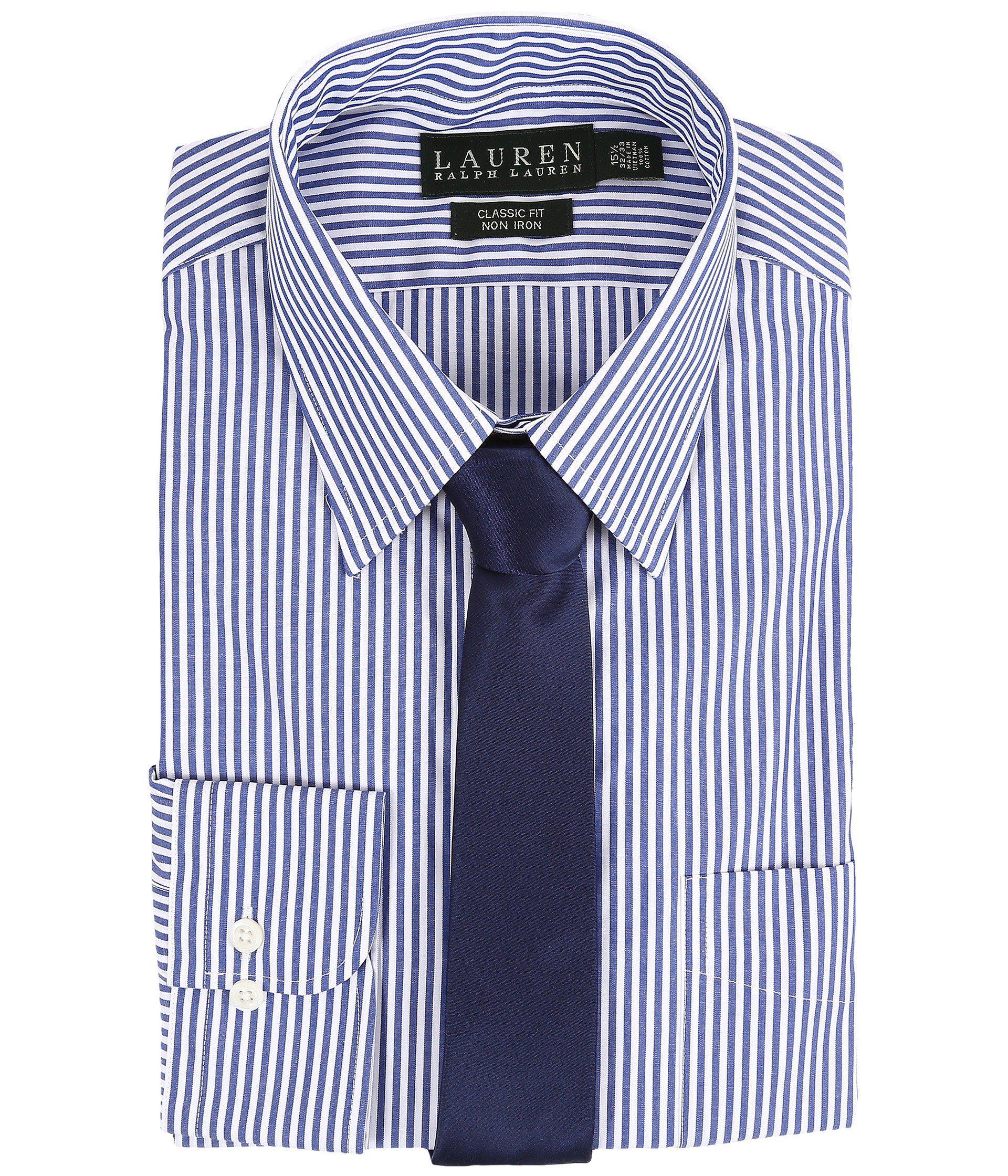 9bcaa796 Lauren by Ralph Lauren Bengal Stripe Spread Collar Classic Button ...