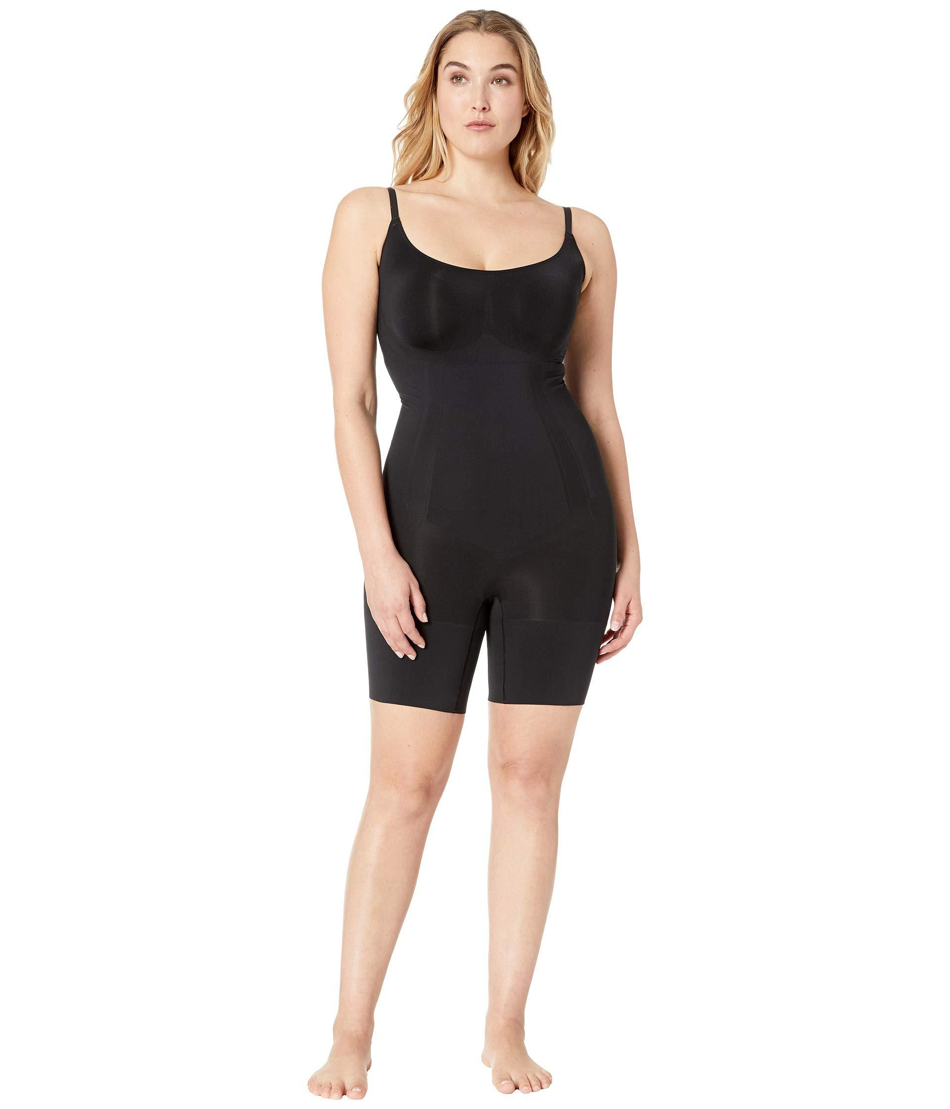 Spanx Synthetic Plus Size Oncore Mid-thigh Bodysuit in Black - Lyst