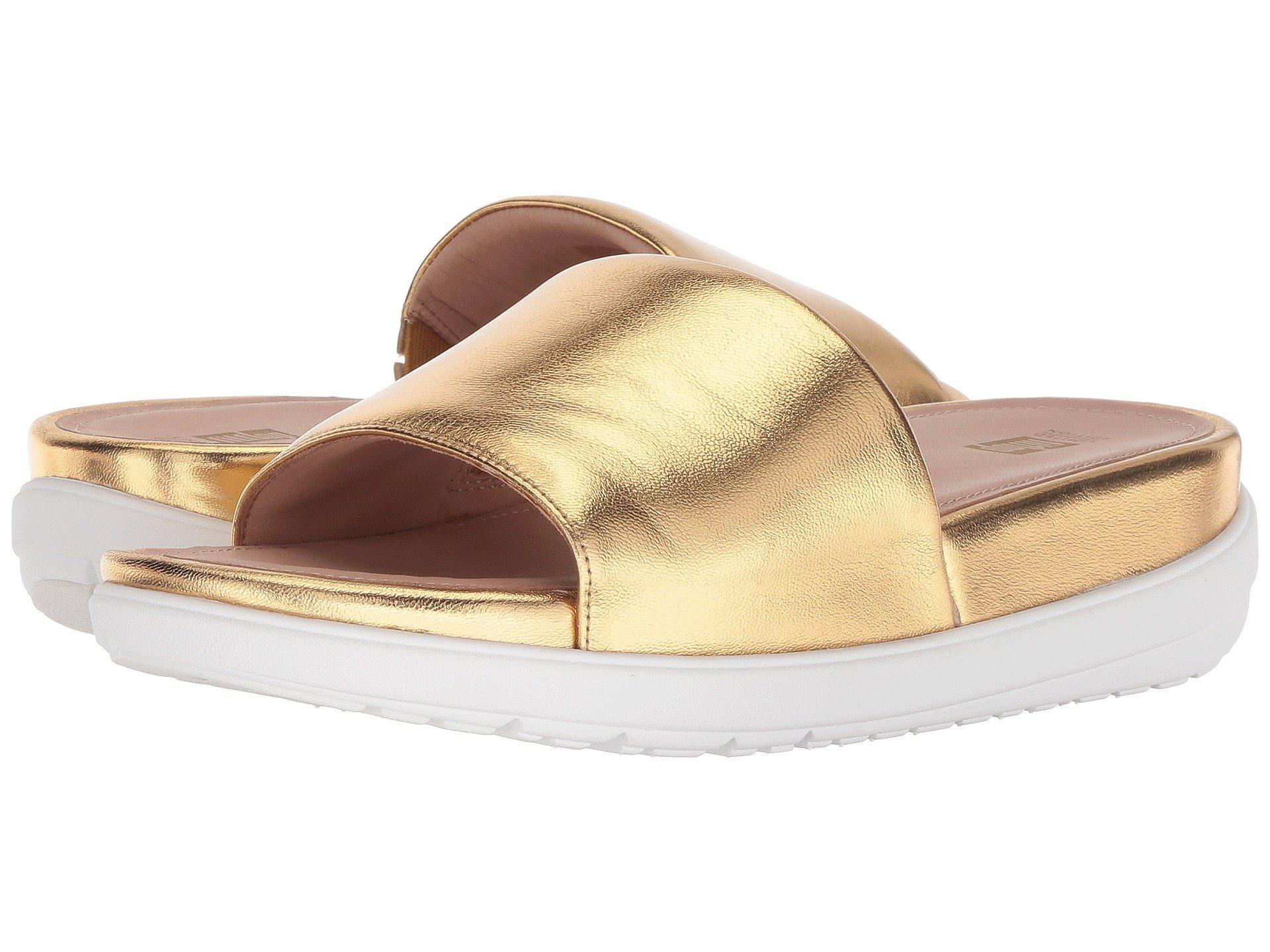 93c9da88be89d3 Lyst - Fitflop Loosh Luxetm Leather Slide Sandals (gold Metallic ...