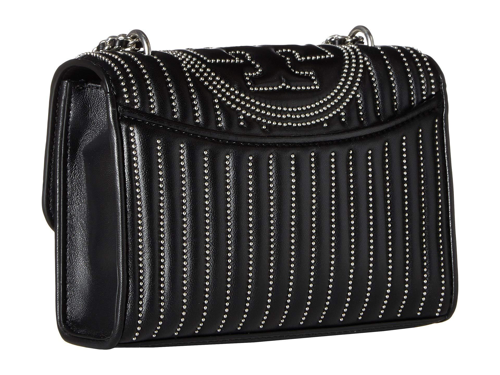 fd021400ce5f Tory Burch - Fleming Mini Stud Small Convertible Shoulder Bag  (black silver) Shoulder. View fullscreen