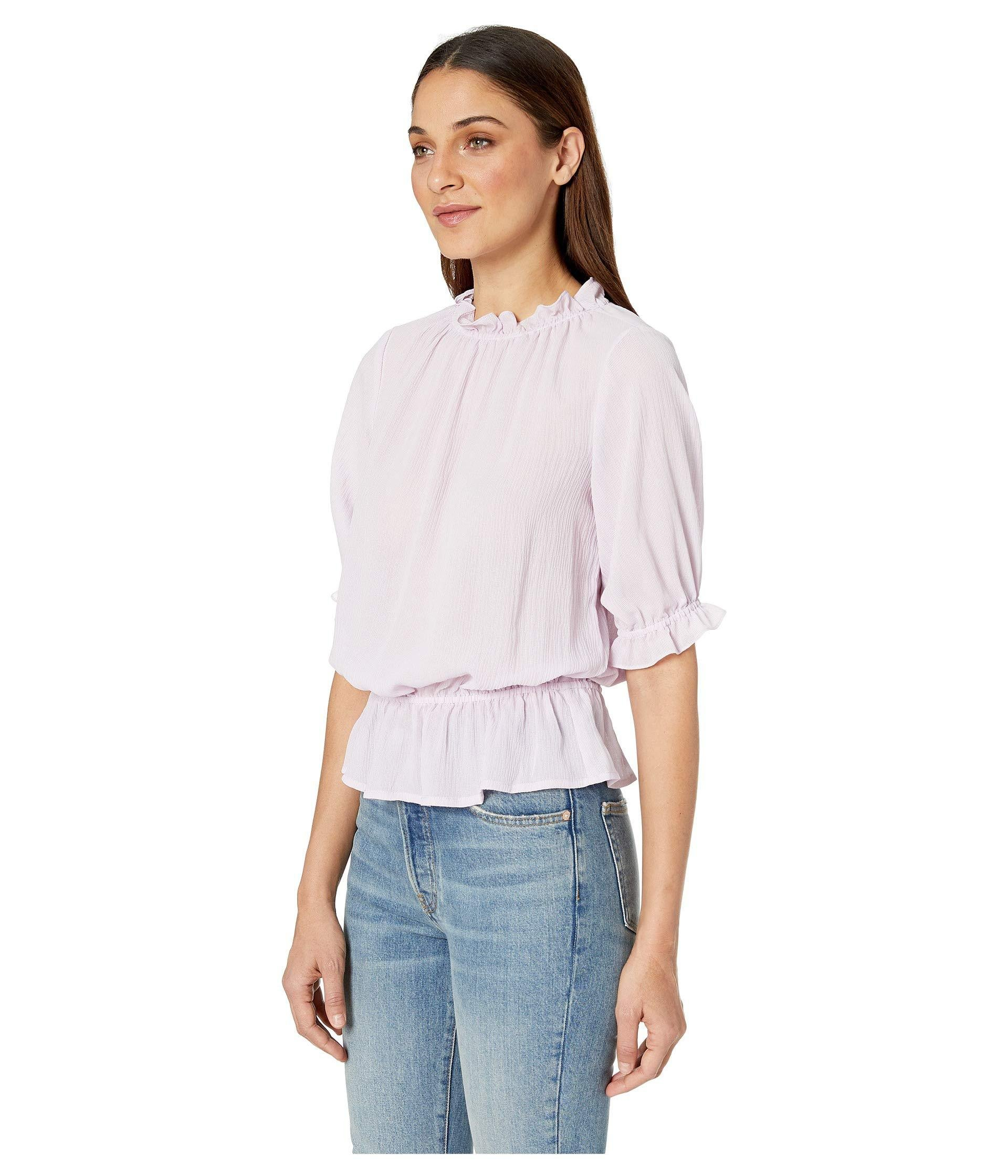 1a5058817c0356 Lyst - 1.STATE Short Sleeve Mock Neck Micro Check Ruffle Blouse (orchid  Rose) Women s Blouse in White