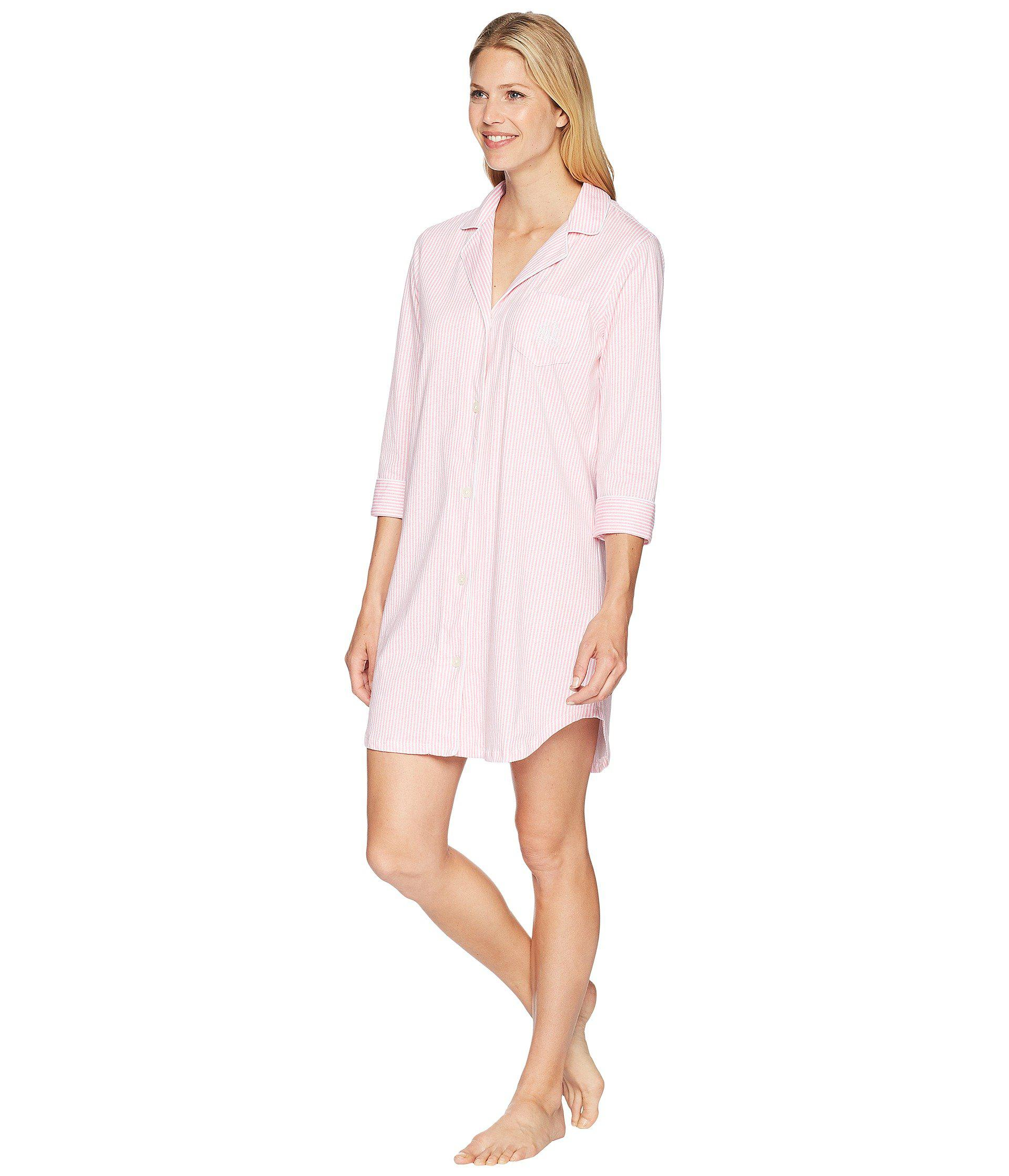 fa1b6b33ae0dd Lyst - Lauren by Ralph Lauren Essentials Bingham Knits Sleep Shirt (navy  Polka Dot) Women s Pajama in Pink
