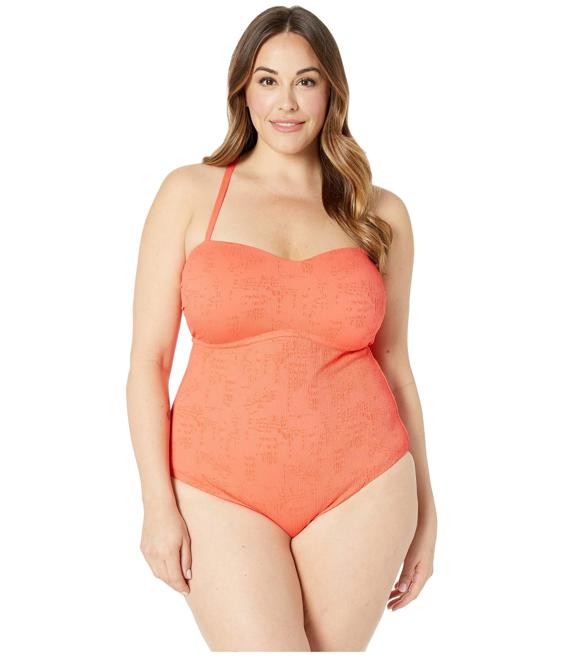 Orange Plus Size Doheny Beach One-piece Swimsuit (hot Coral) Women\'s  Swimsuits One Piece