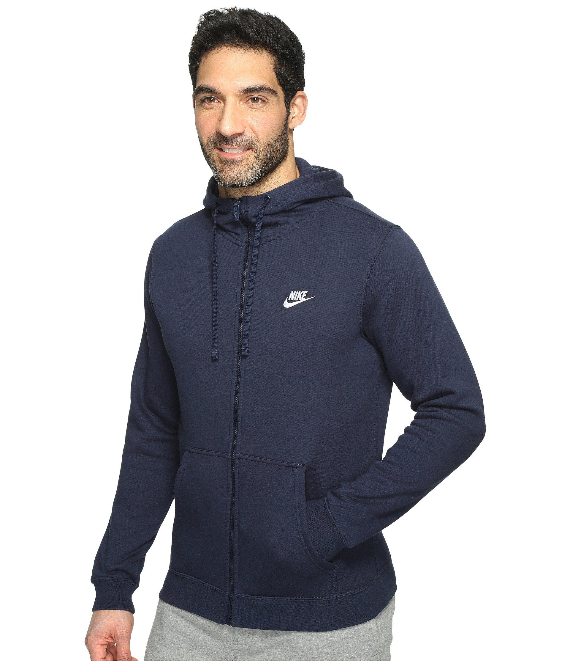 39095da968f8 Lyst - Nike Club Fleece Full-zip Hoodie (black black white) Men s Fleece in  Blue for Men