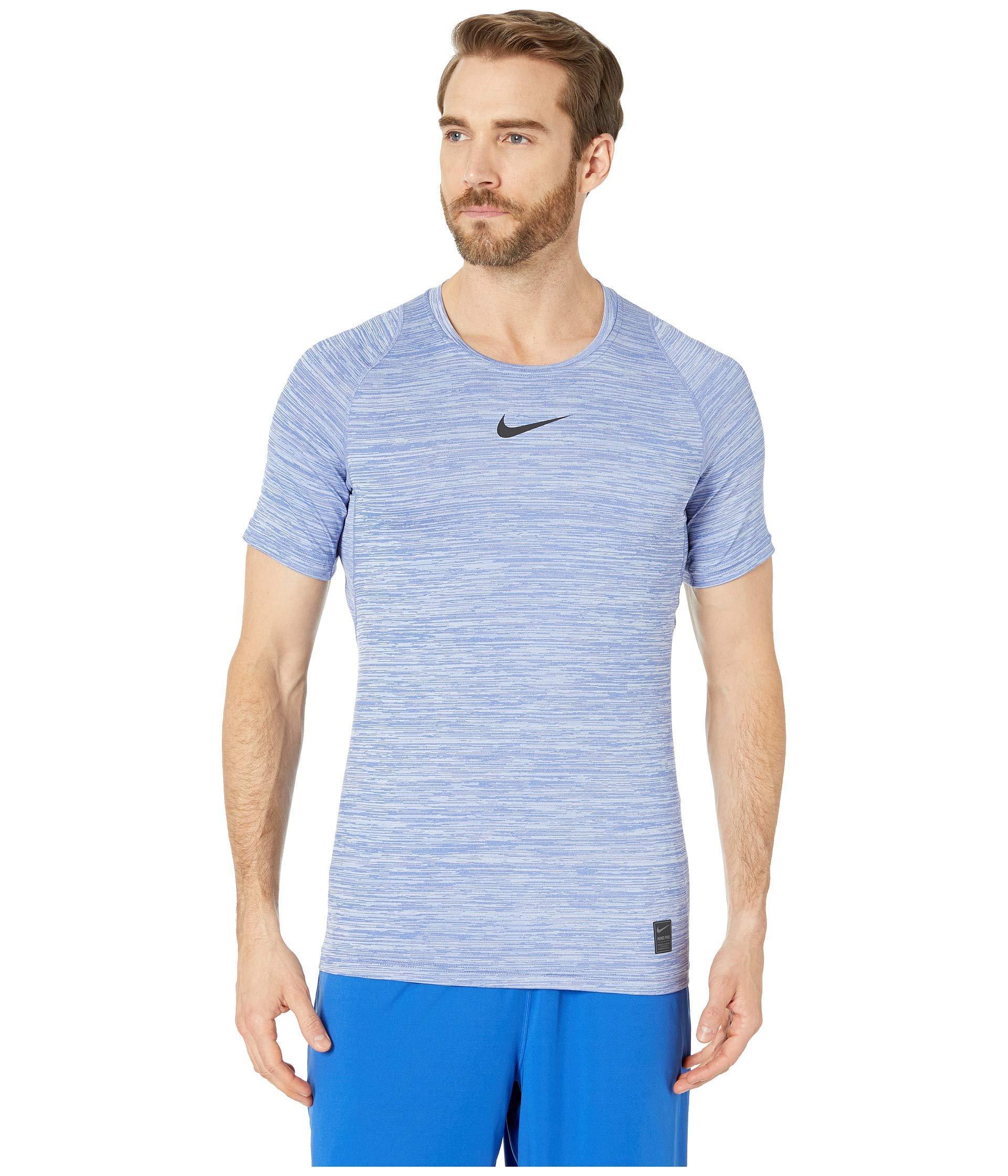 a0d60c3b Nike Pro Heathered Short Sleeve Training Top (light Blue Fury/green ...