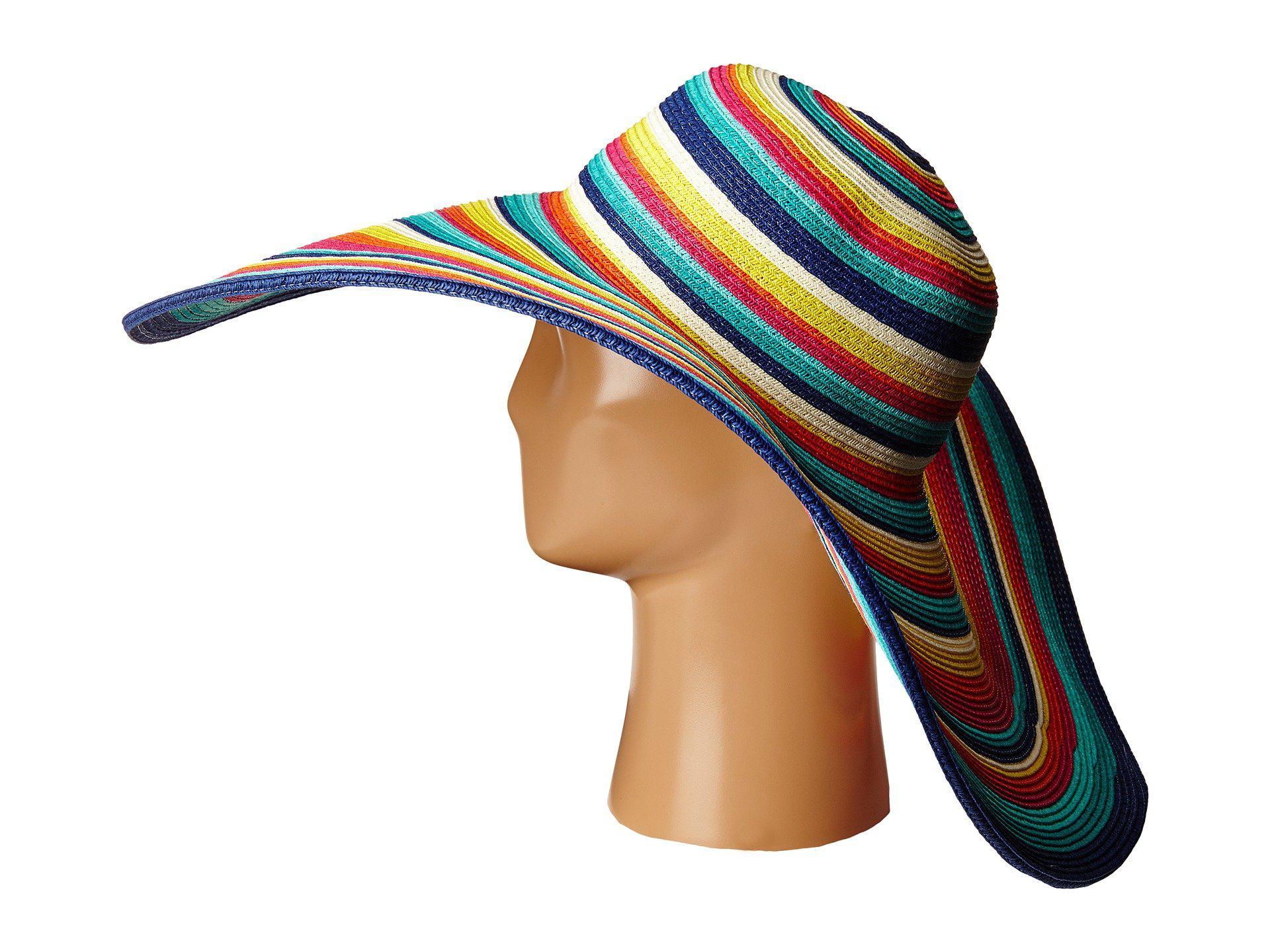 47770206215 San Diego Hat Company - Multicolor Ubx2721 Striped Floppy 8 Inch Brim Sun  Hat (multi. View fullscreen