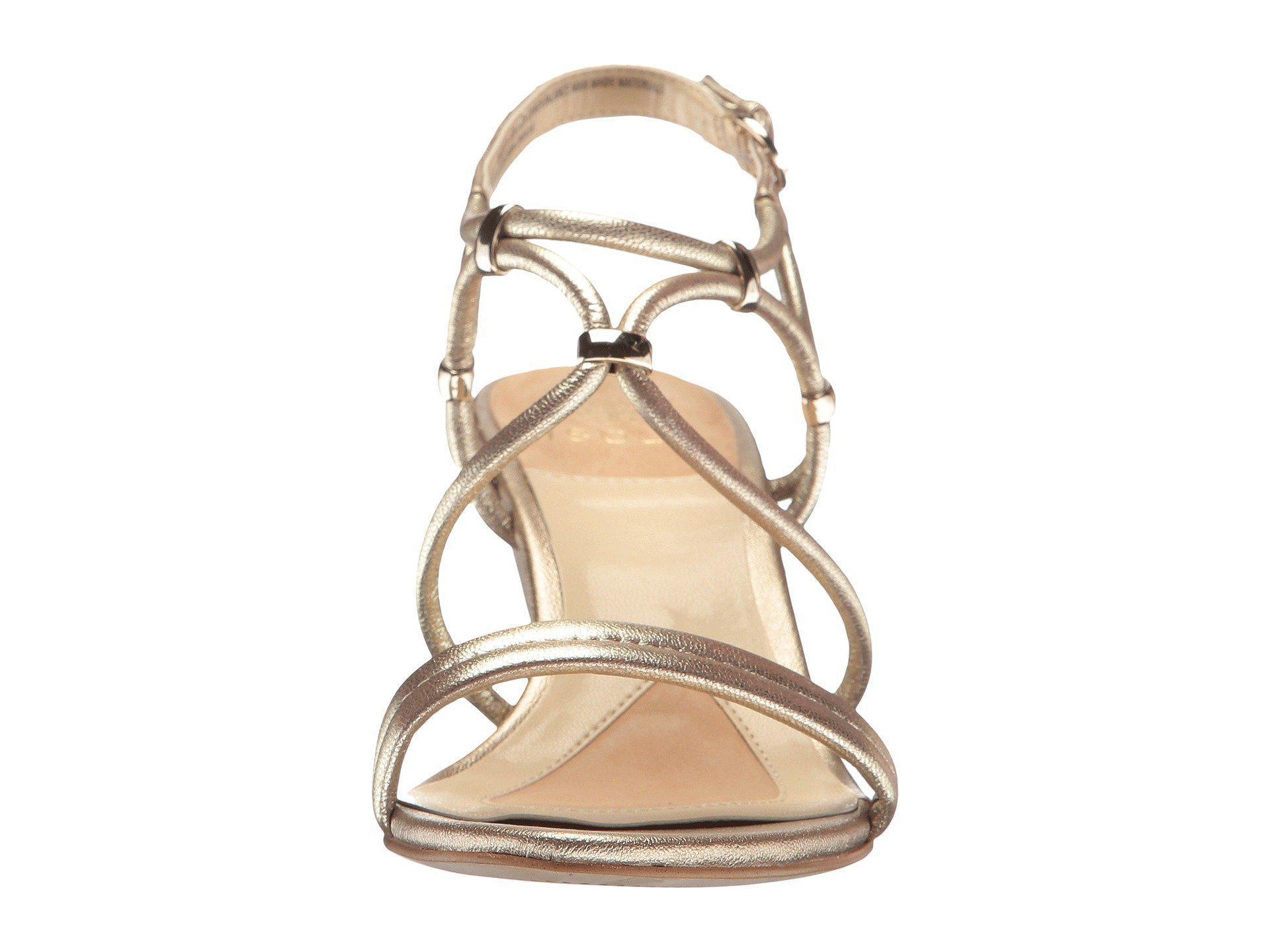 41c7f0f5bcf Isola - Farrah (satin Gold Grid Metallic) Women s Sandals - Lyst. View  fullscreen