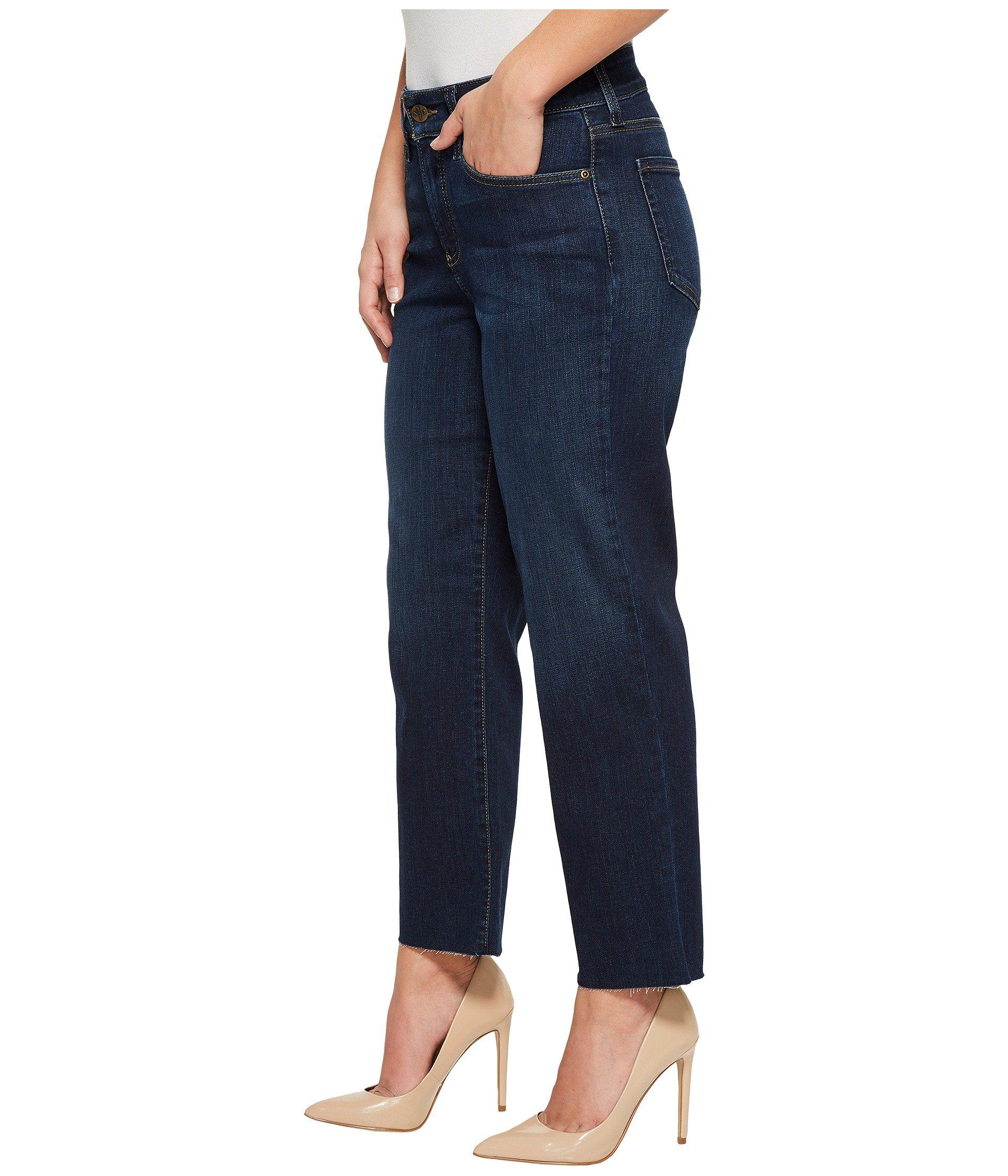 NYDJ Womens Collection Petite SZ Marilyn Straight Ankle Jeans W// Raw