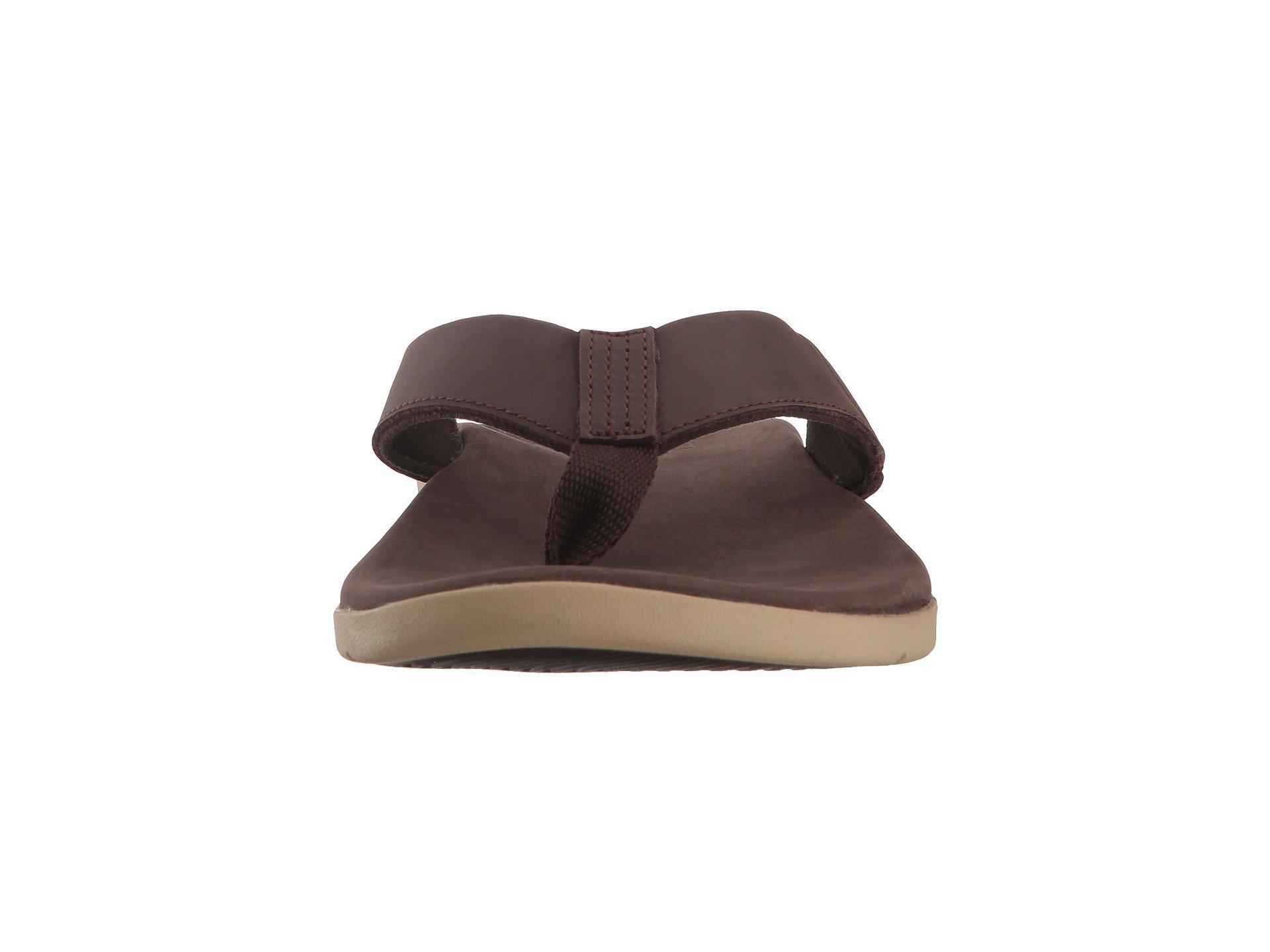 Reef Cushion J Bay Brown Men/'s Leather Flip Flop Sandals
