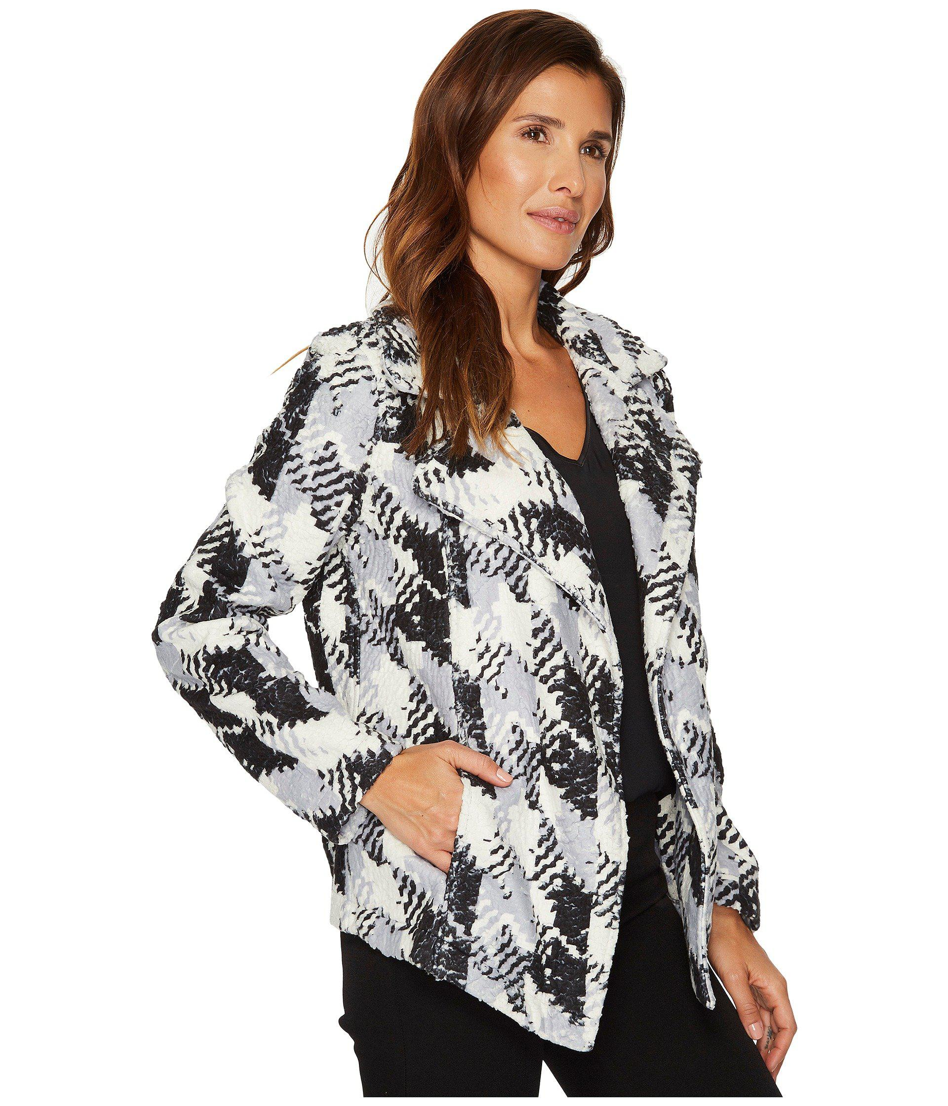 Two by Vince Camuto Womens Broken Houndstooth Faux Fur Coat