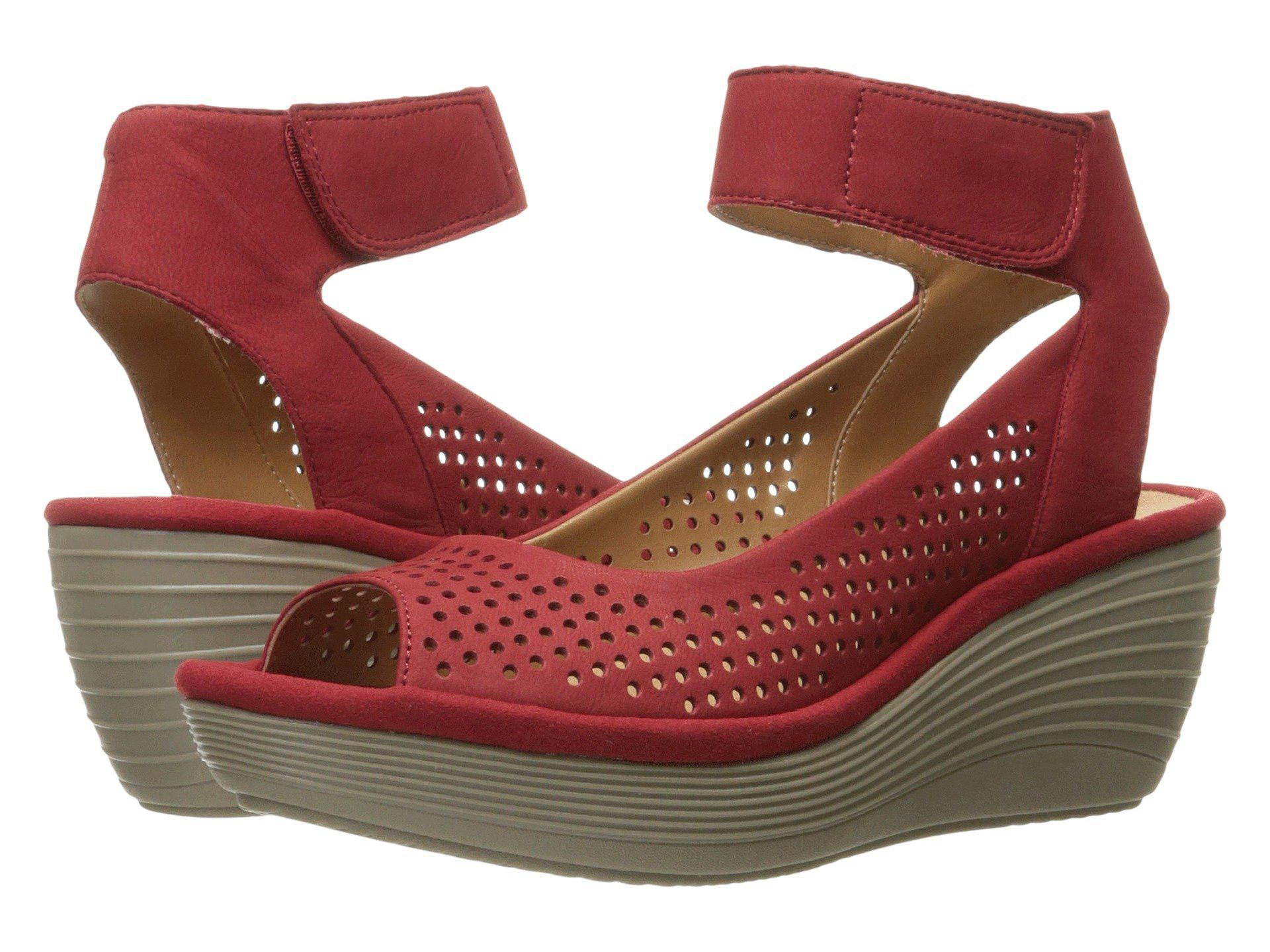 467e3cb27a Clarks Reedly Salene Wedge Sandal in Red - Lyst