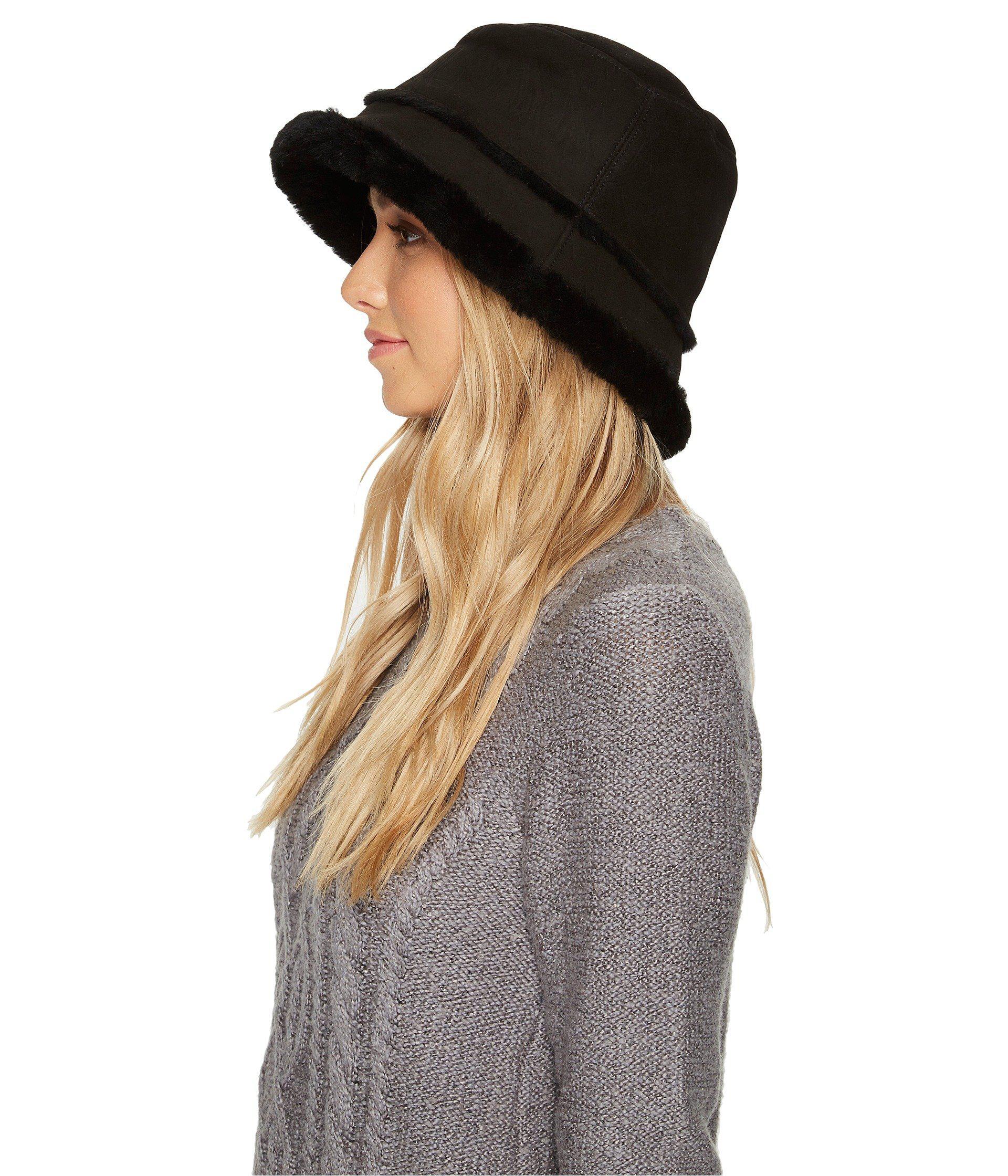 7a1784c7d Women's Black Waterproof Sheepskin Bucket Hat