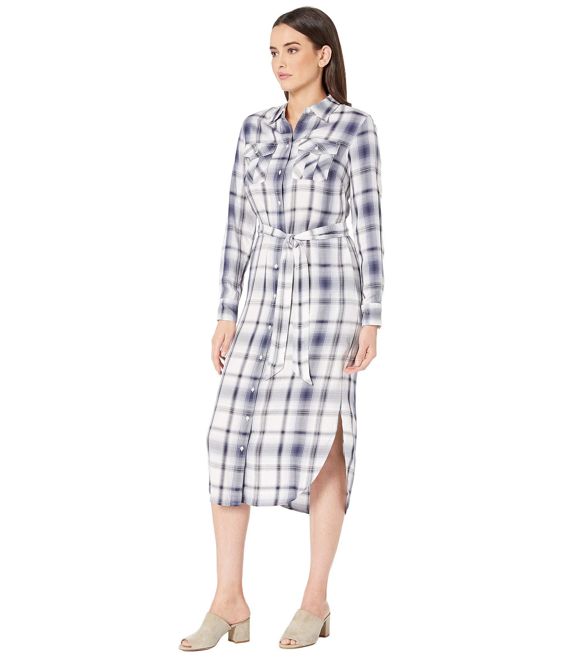 79008464b5eb0 Lyst - Lauren by Ralph Lauren Plaid Herringbone Shirtdress (navy Multi)  Women s Dress in Blue