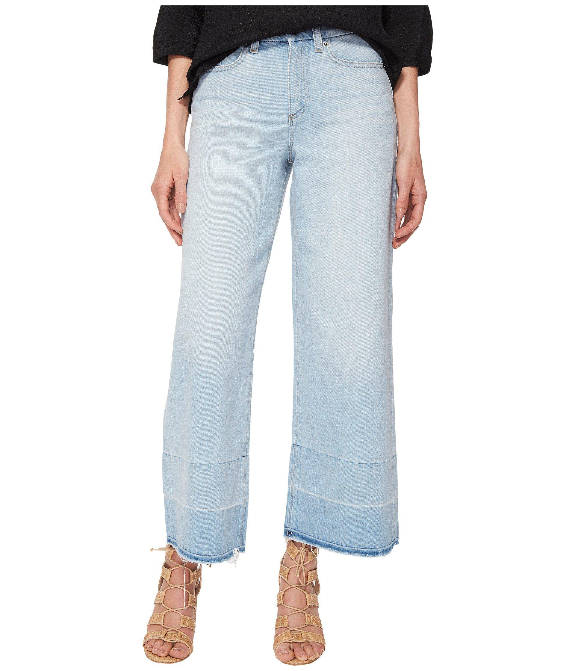 1.State Womens Five-Pocket Released Hem Wide Leg Jeans in Corsica Wash