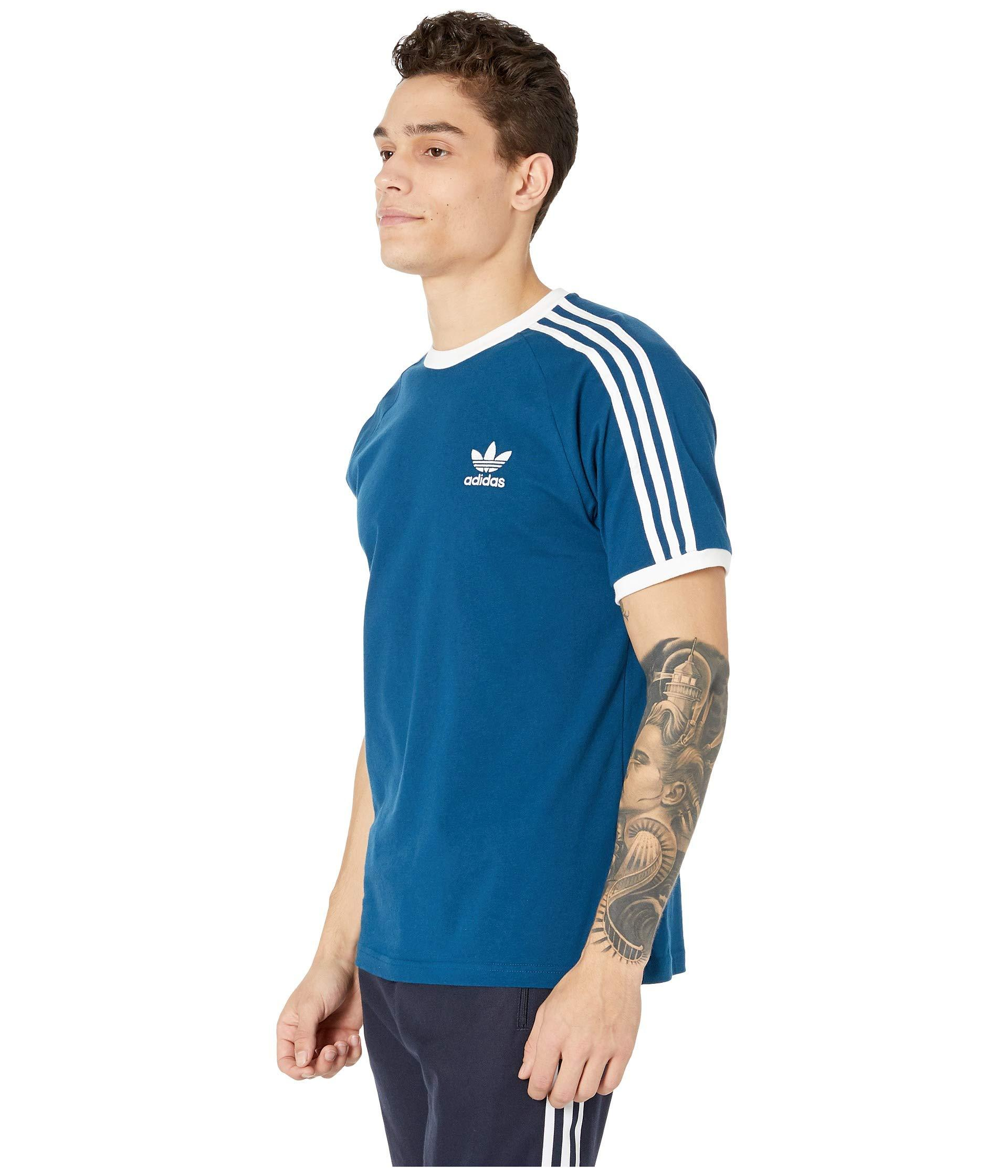 adidas Originals Cotton 3-stripes Tee (legend Marine) Men's T ...