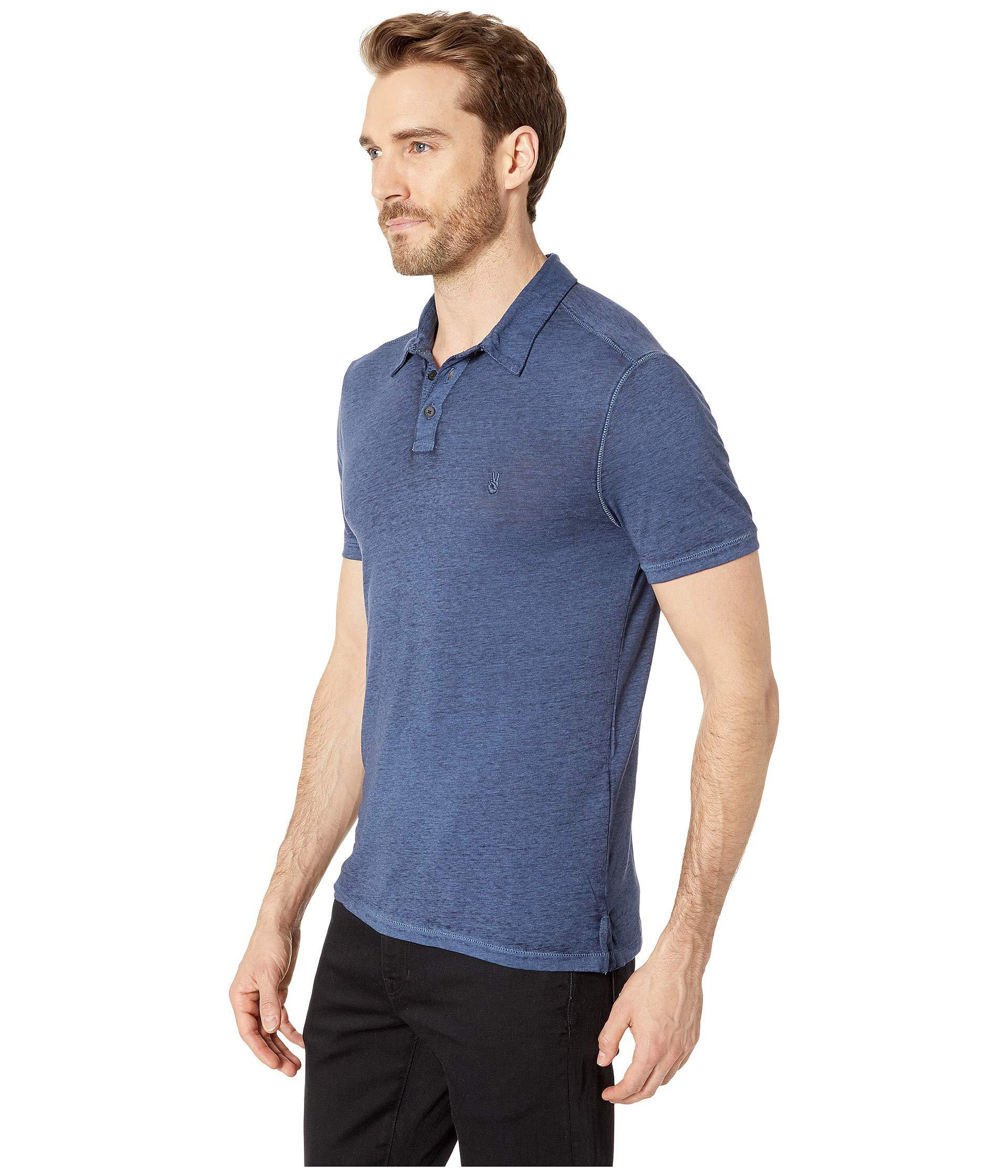 d3b1fc10d Lyst - John Varvatos Short Sleeve Burnout Polo With Peace Sign (charcoal  Heather) Men's Clothing in Blue for Men