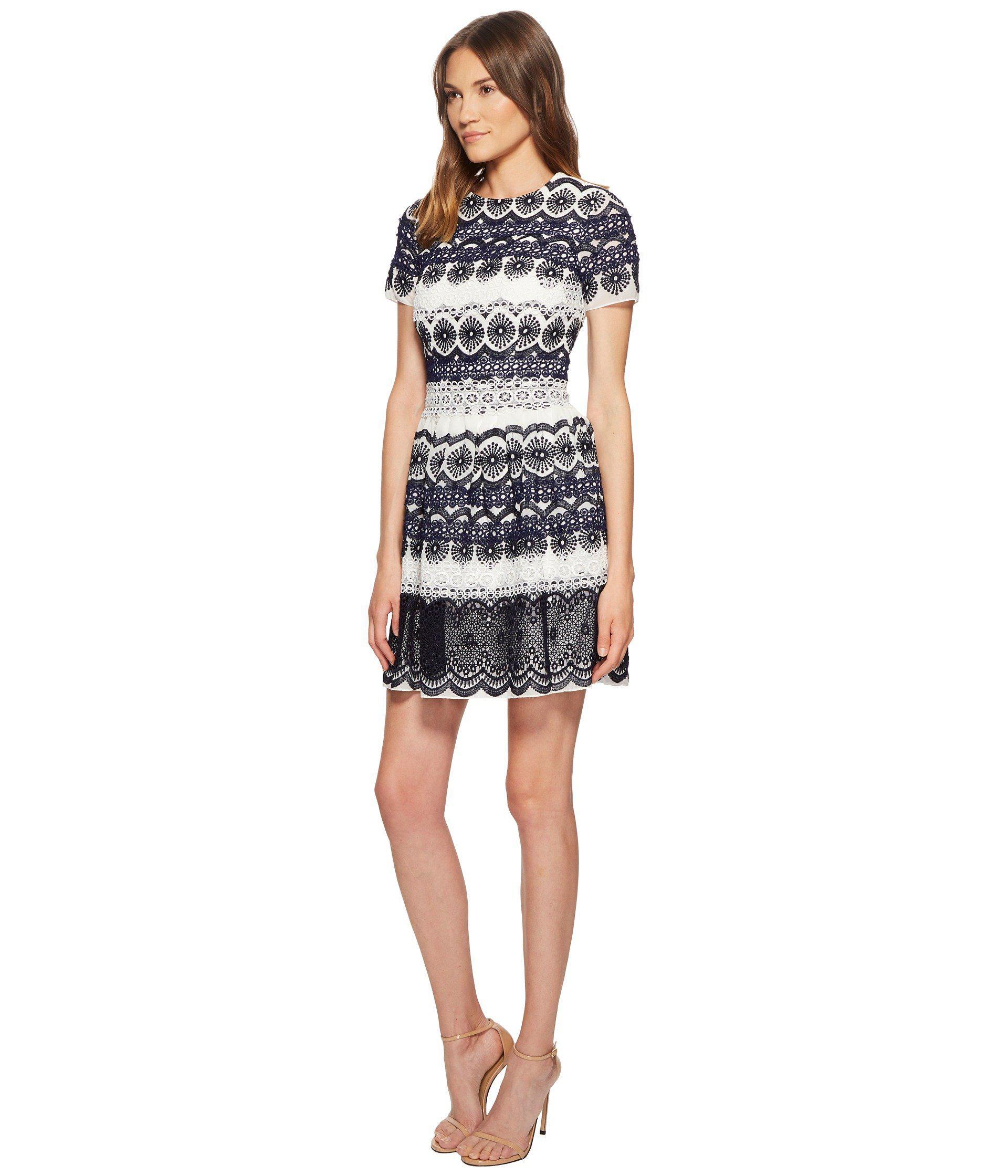 298d27e34f7 Lyst - ML Monique Lhuillier Short Sleeve Lace Print Dress (navy Combo)  Women s Dress in Blue - Save 82%
