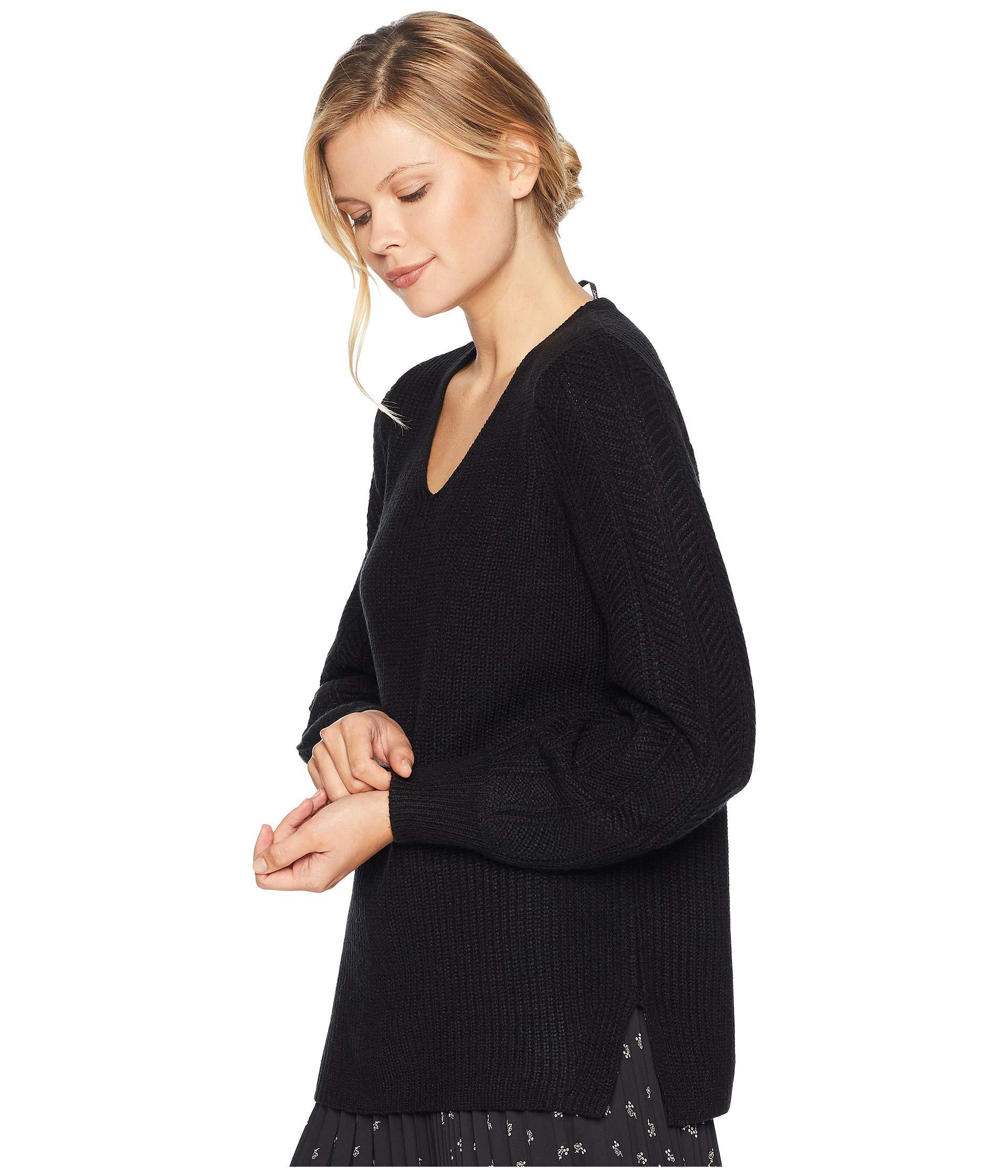 481cef9d6905d Lyst - Calvin Klein V-neck With Poetic Stitch Sleeve Sweater (black)  Women s Sweater in Black