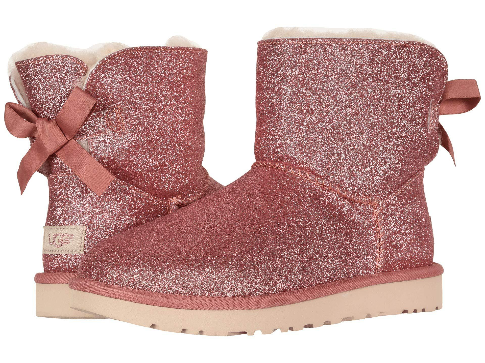 5a18de7b5a0 Ugg Pink Mini Bailey Bow Sparkle Boot (silver) Women's Pull-on Boots