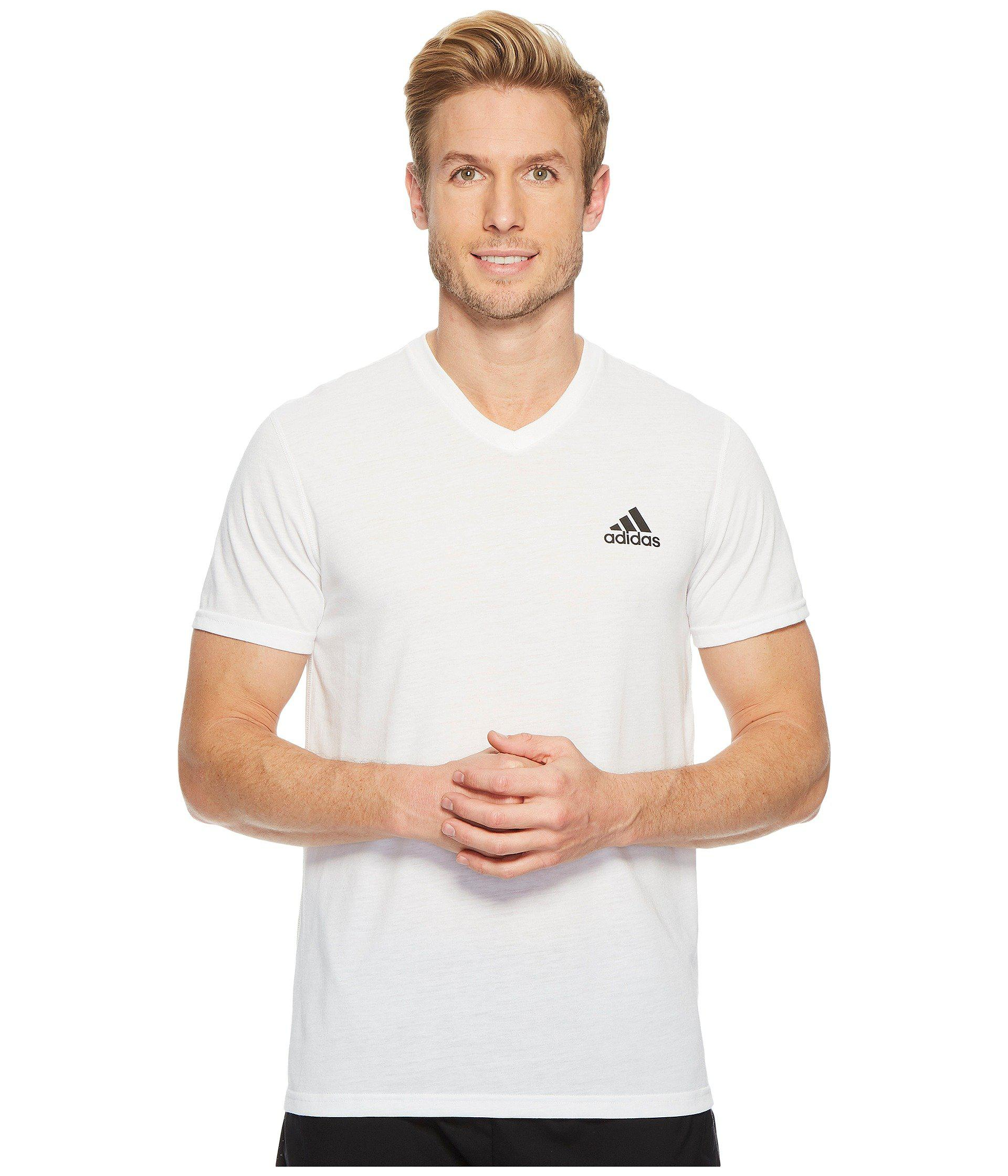 adidas Synthetic Ultimate V-neck Short Sleeve Tee in White for Men ...