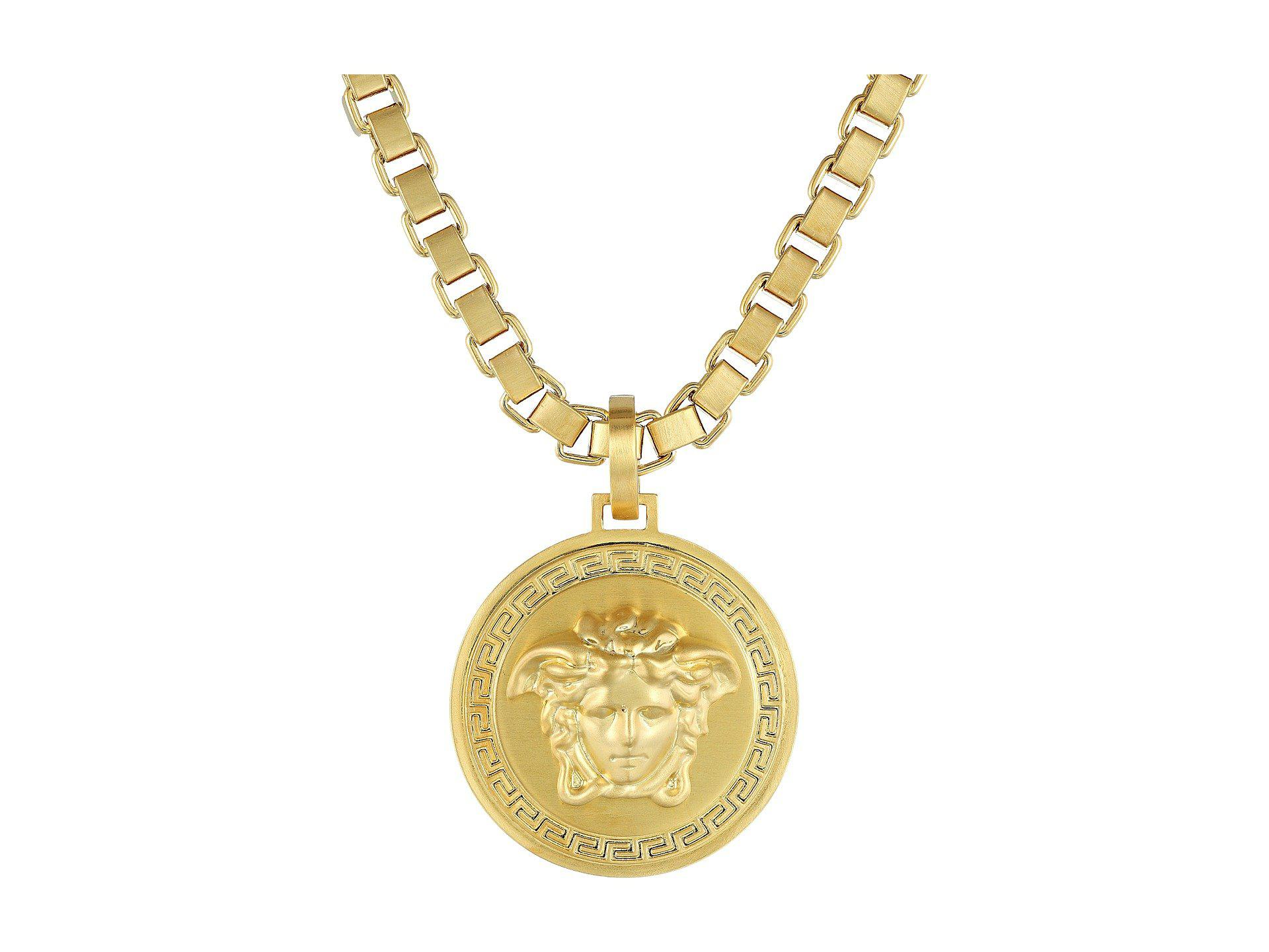 lyst necklace venetian jewelry gold metallic chain in medallion versace gallery