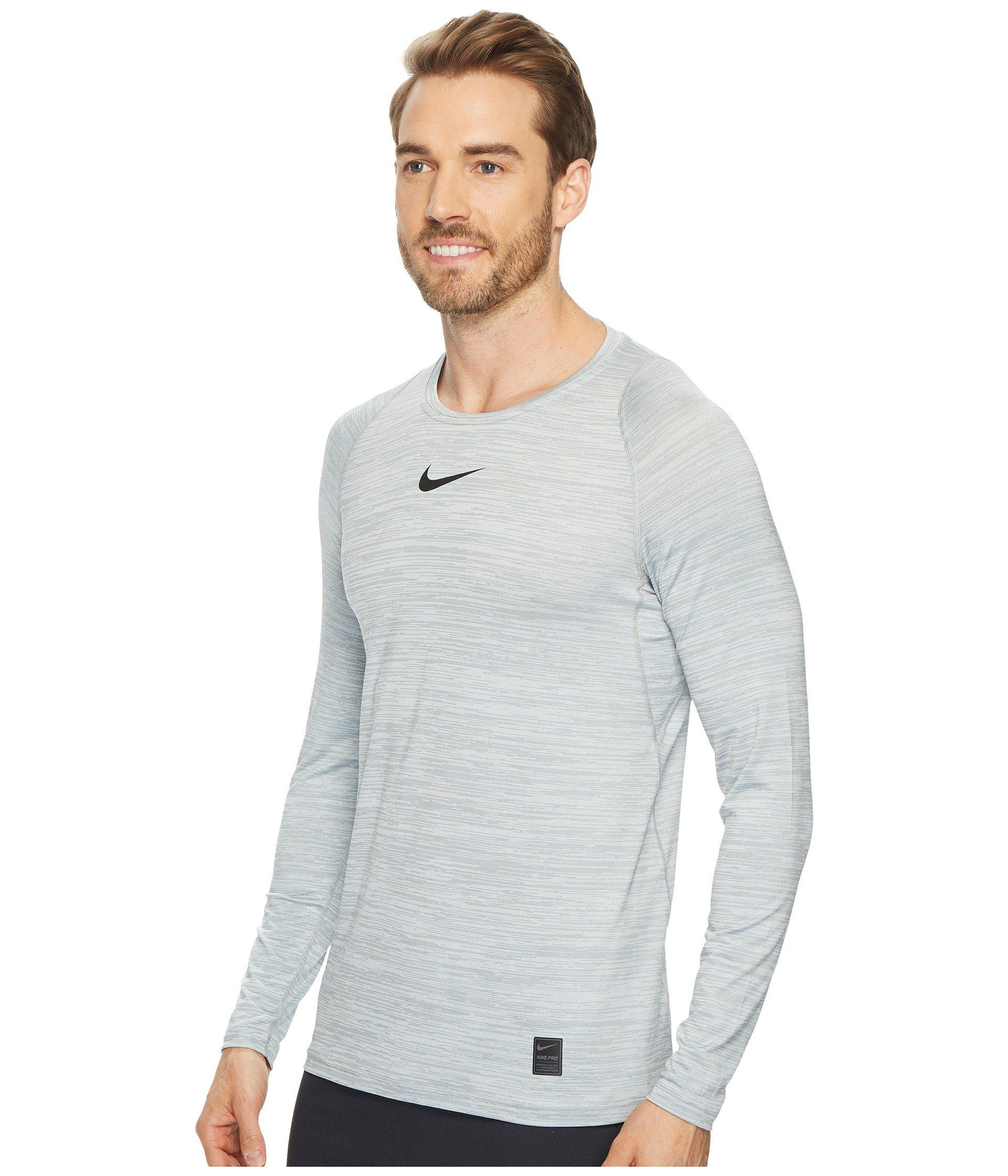 92368648 Lyst - Nike Pro Heathered Long Sleeve Training Top (black/cool Grey/black) Men's  Long Sleeve Pullover in White for Men