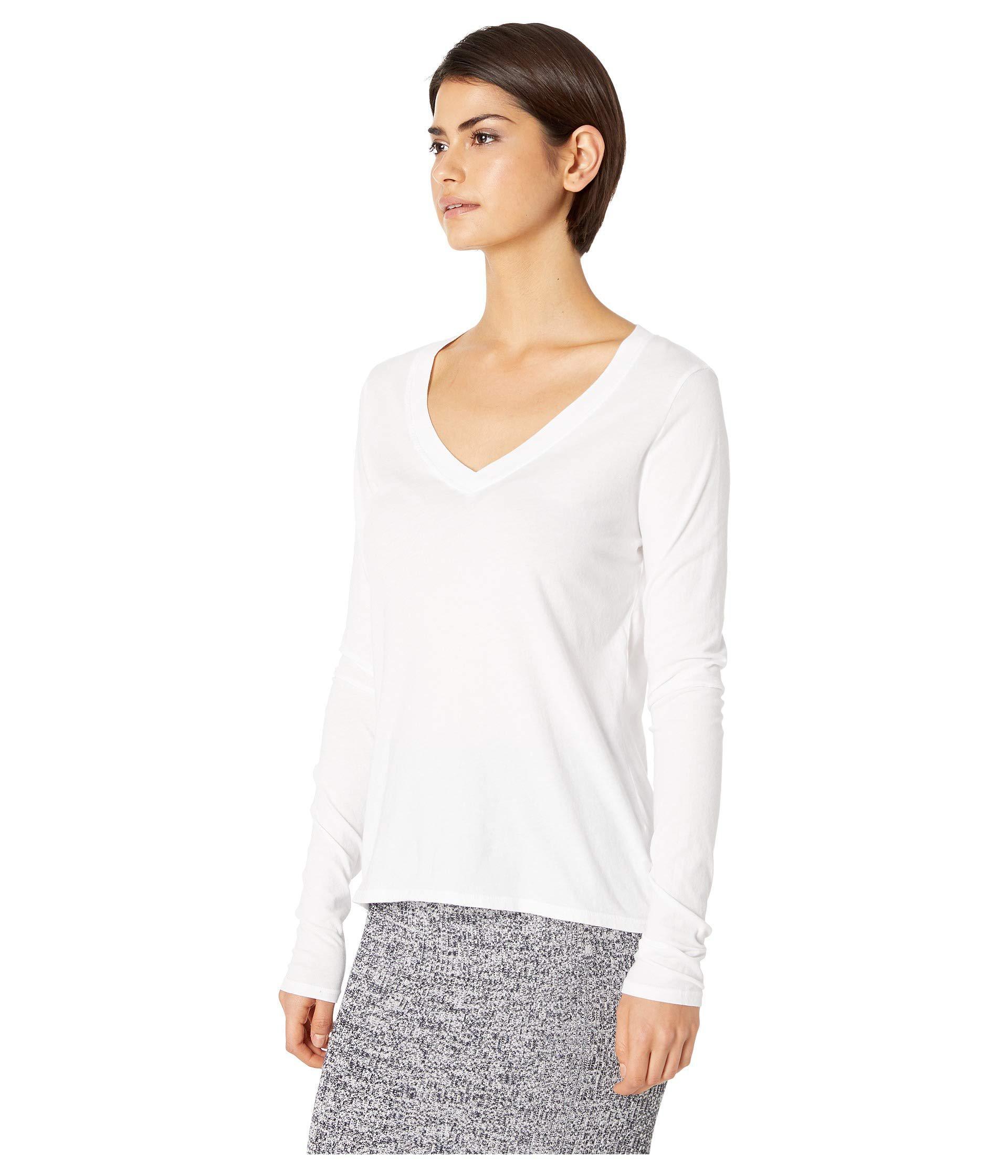 57e60663 Lamade - White Long Sleeve V-neck In Tissue Jersey (black) Women's Long.  View fullscreen
