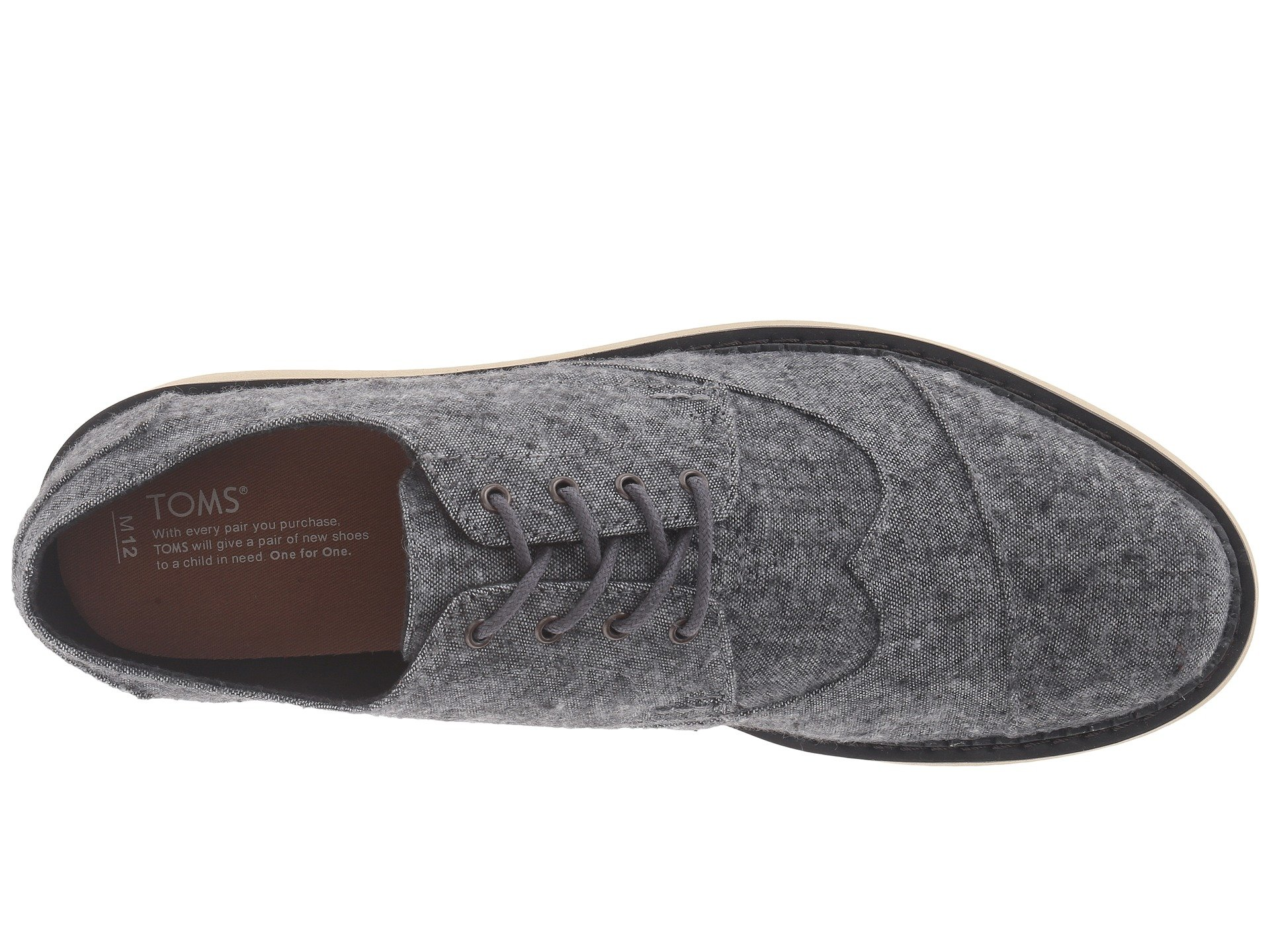 TOMS Leather Brogue Shoes in Grey (Grey) for Men