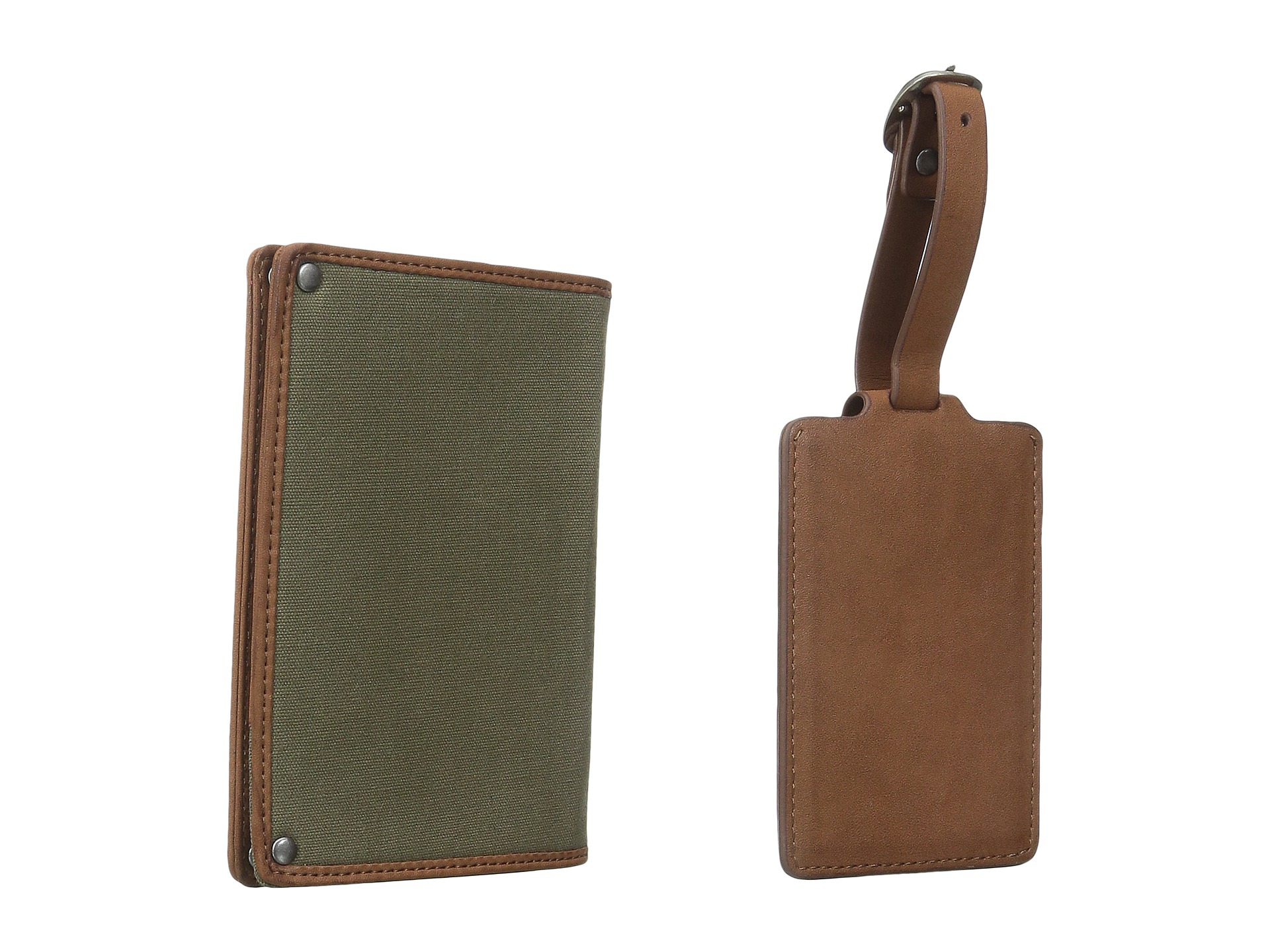 Bill Adler 1981 Luggage Tag Canvas Passport Case In Green