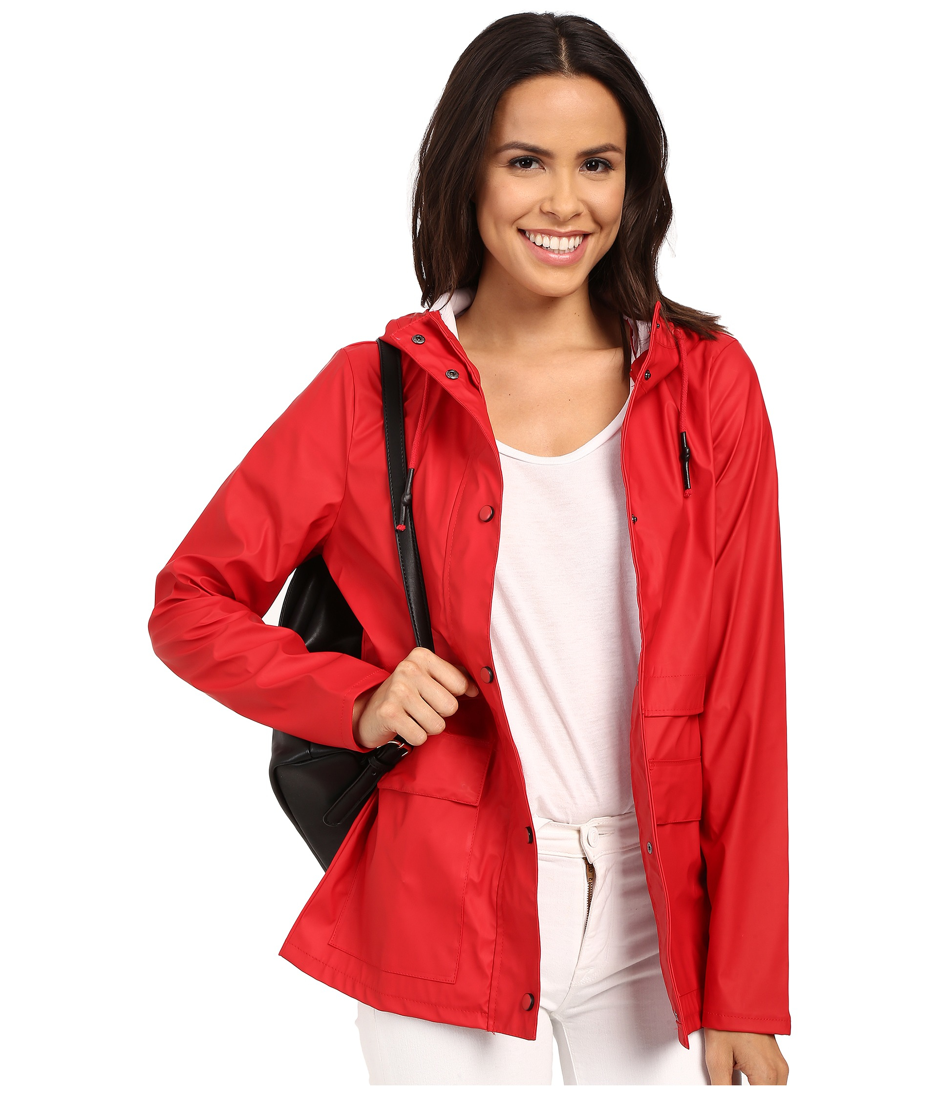 Only Train Short Raincoat in Red | Lyst