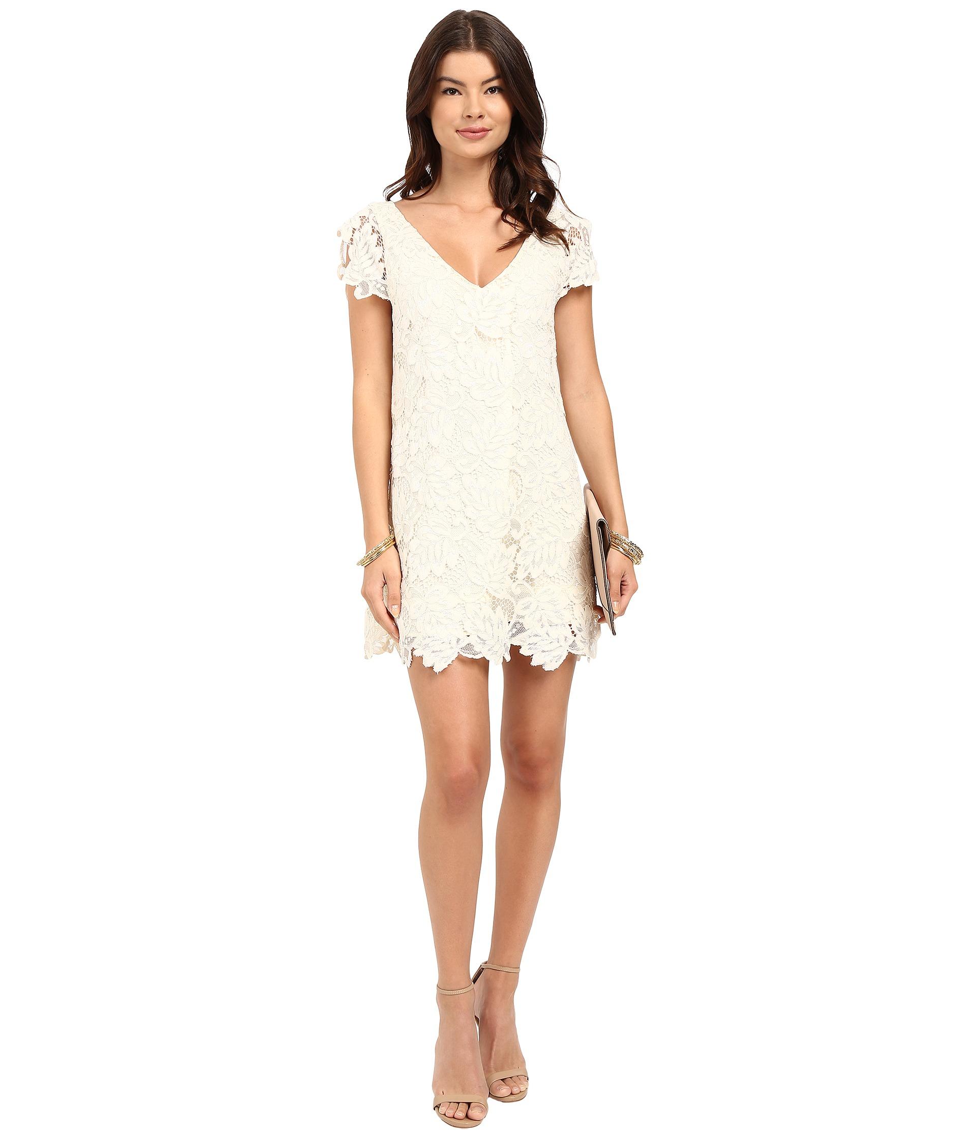 Jacqueline Scallop Lace V Neck Dress