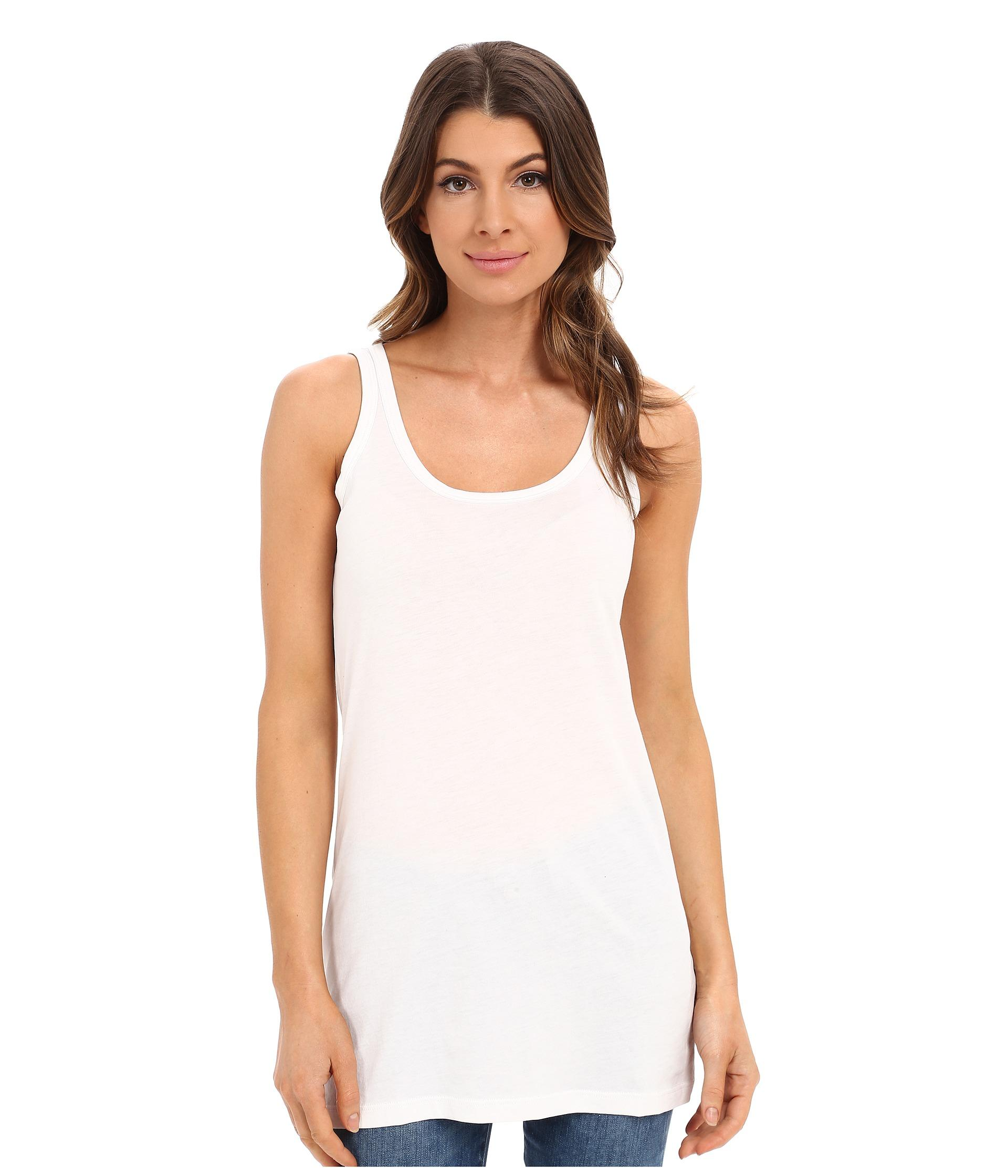 Lilla p Layering Long Scoop Tank Top in White | Lyst
