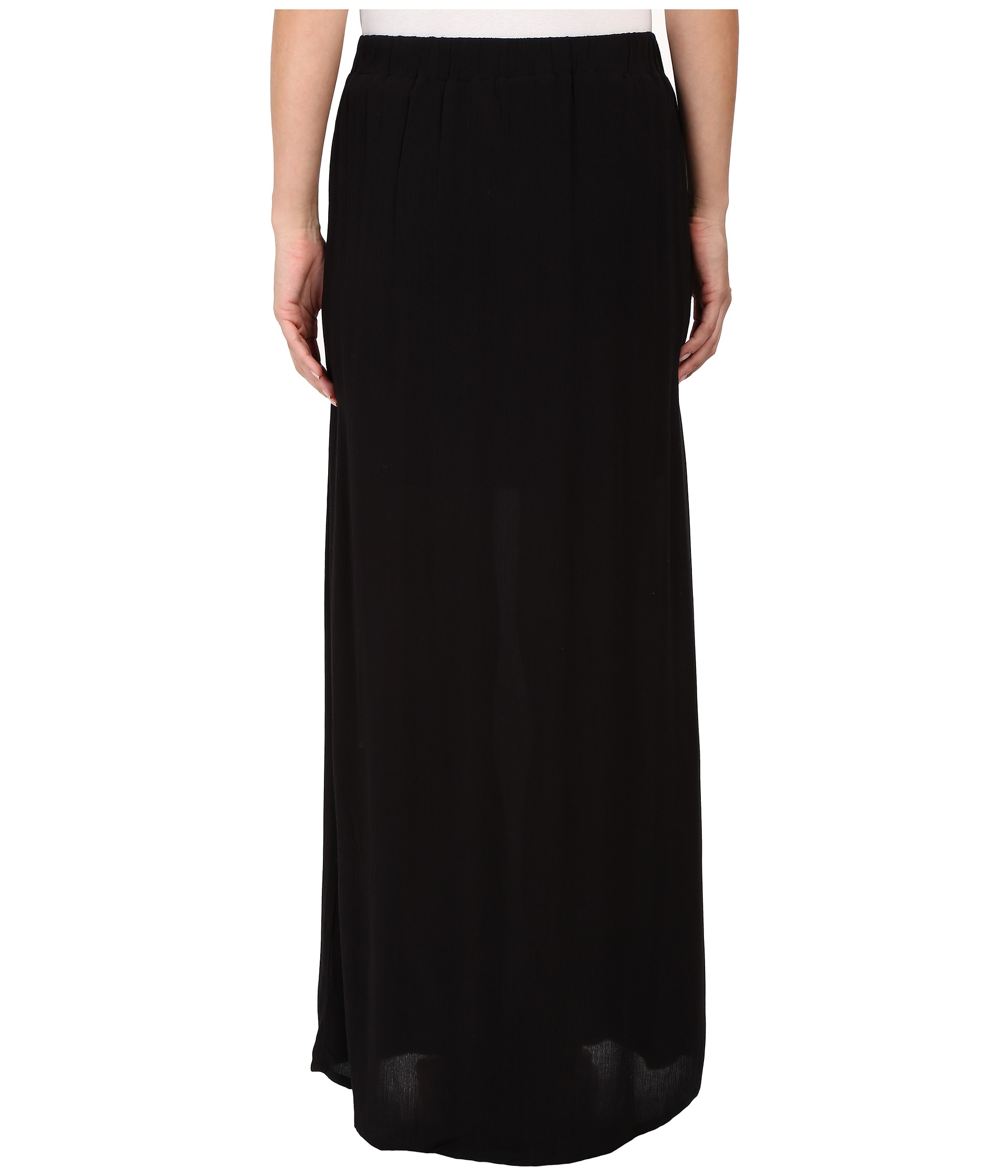 splendid rayon crinkle gauze maxi skirt in black lyst