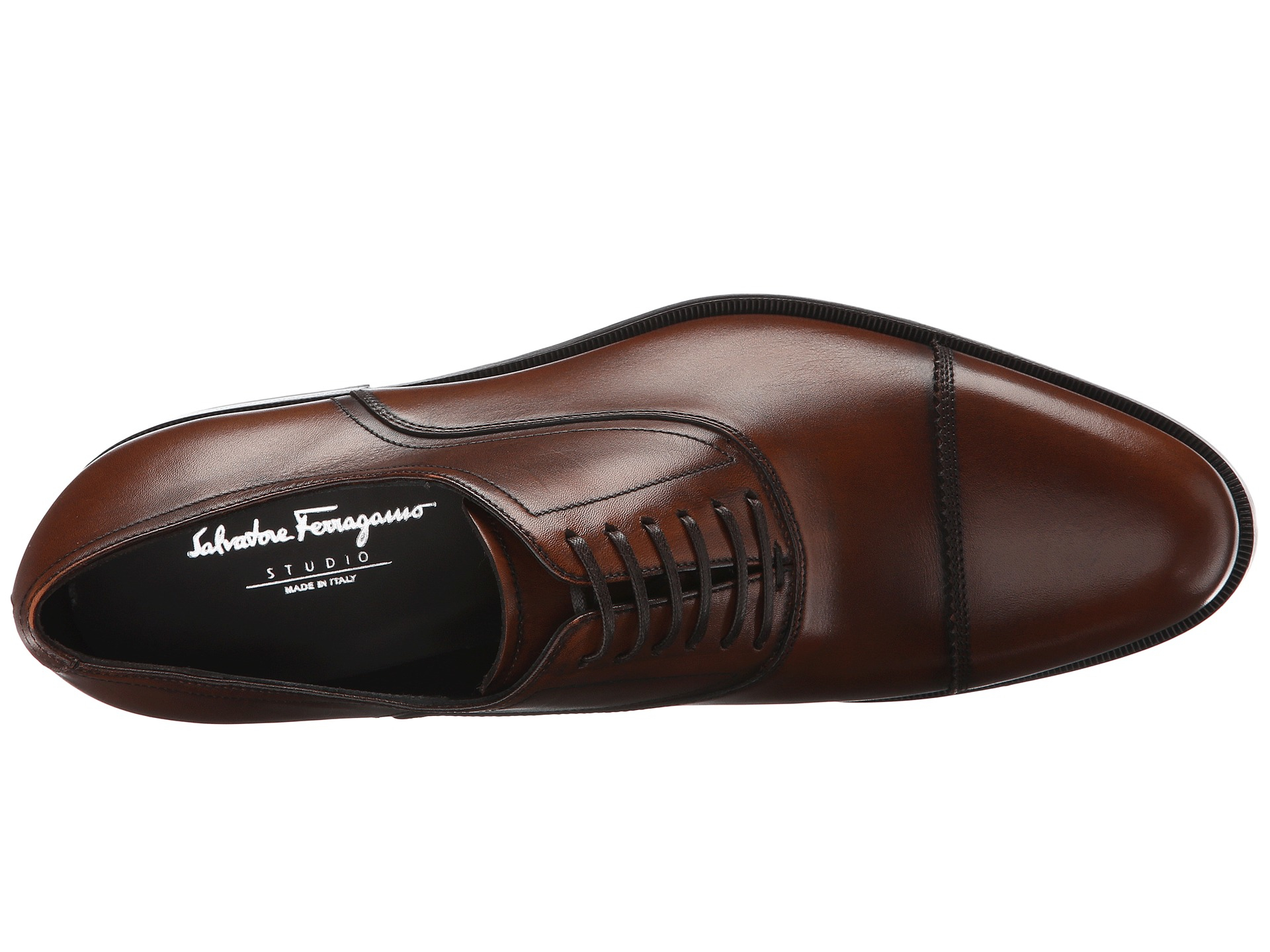 Ferragamo Leather Guru Oxford in Brown