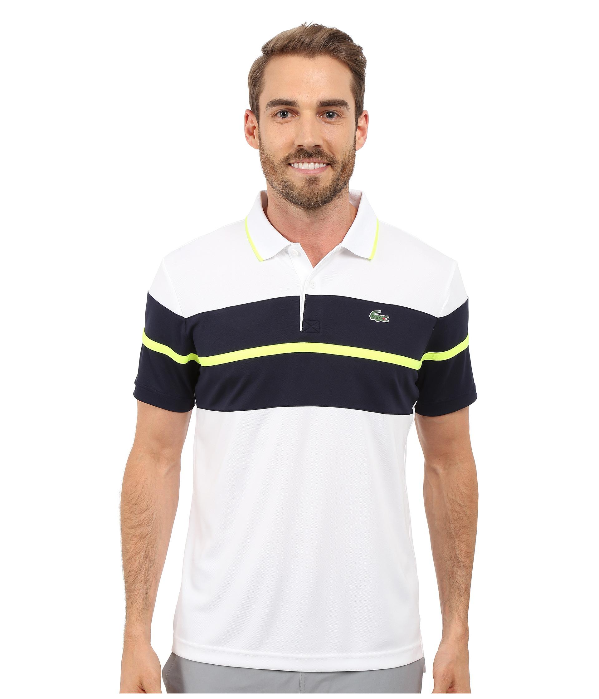 f7fe2c9c Lacoste Sport Ultra Dry Chest Stripe Polo in White for Men - Lyst