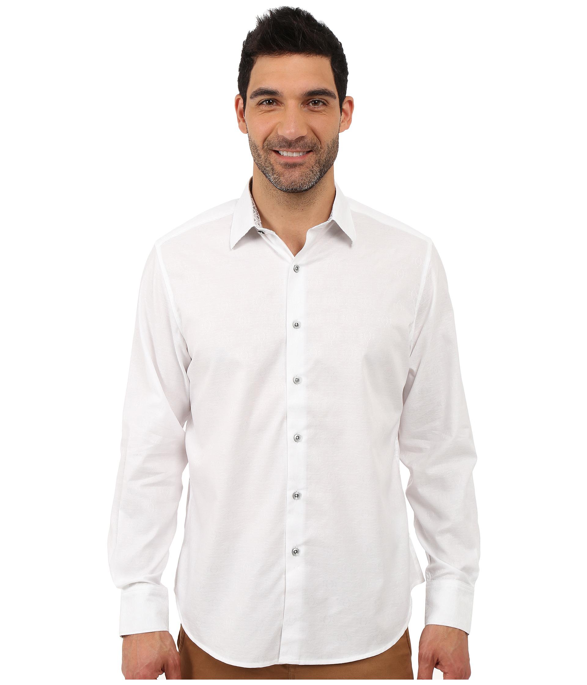 Robert graham cullen sport shirt in white for men lyst for Robert graham sport shirt