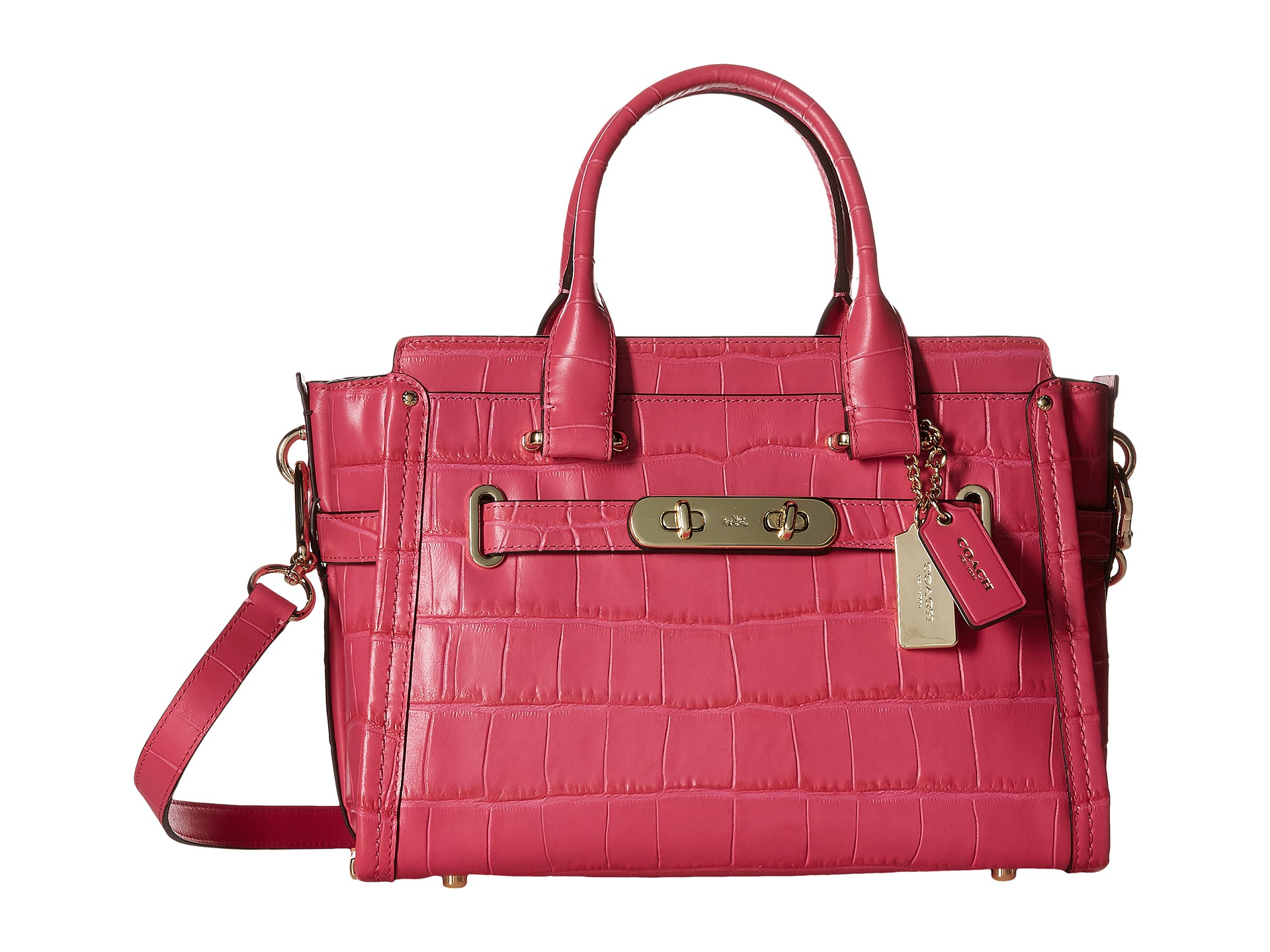 6827f9dbb2 Lyst - COACH Embossed Croc Swagger 27 in Pink