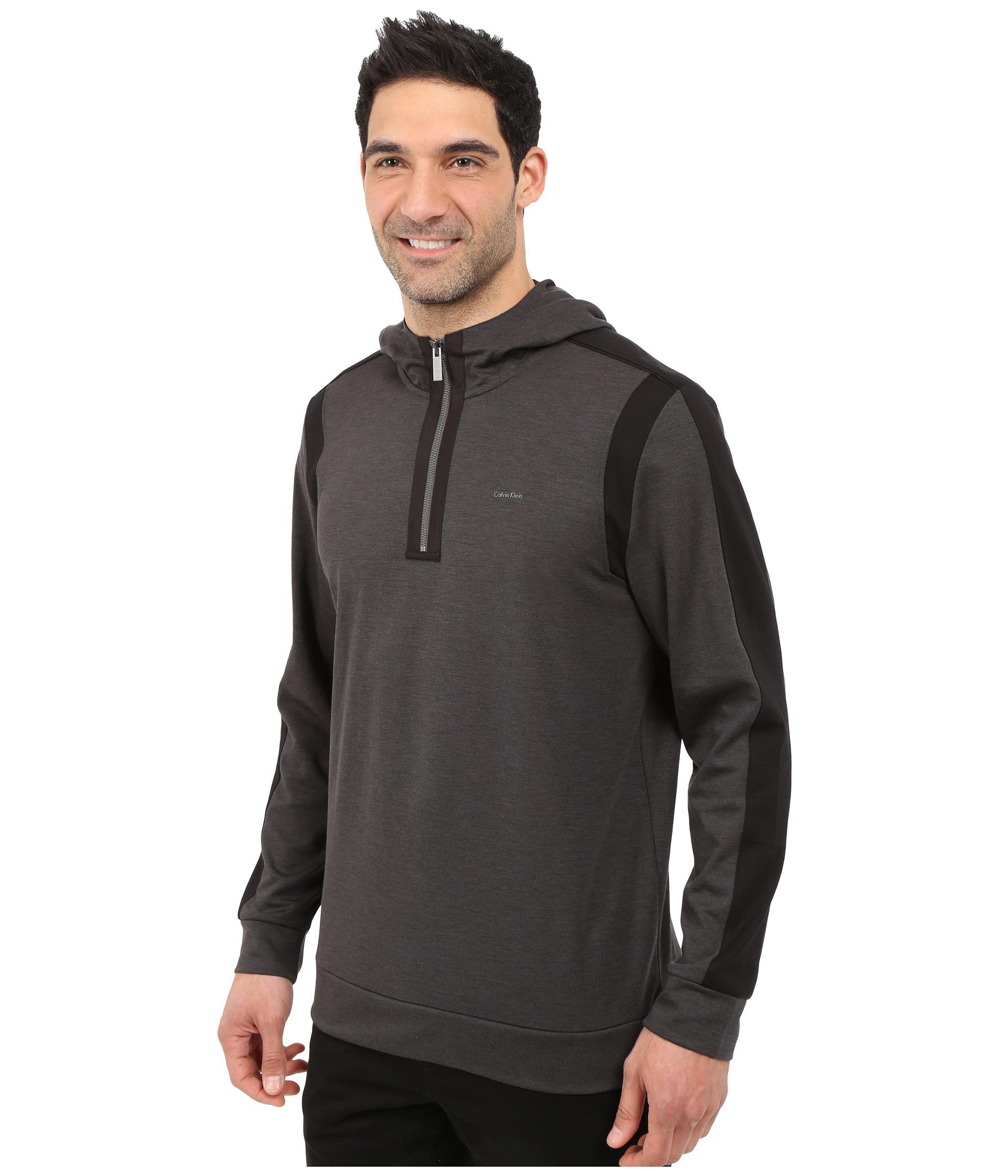 calvin klein quarter zip ponte knit hoodie sweatshirt in gray for men lyst. Black Bedroom Furniture Sets. Home Design Ideas