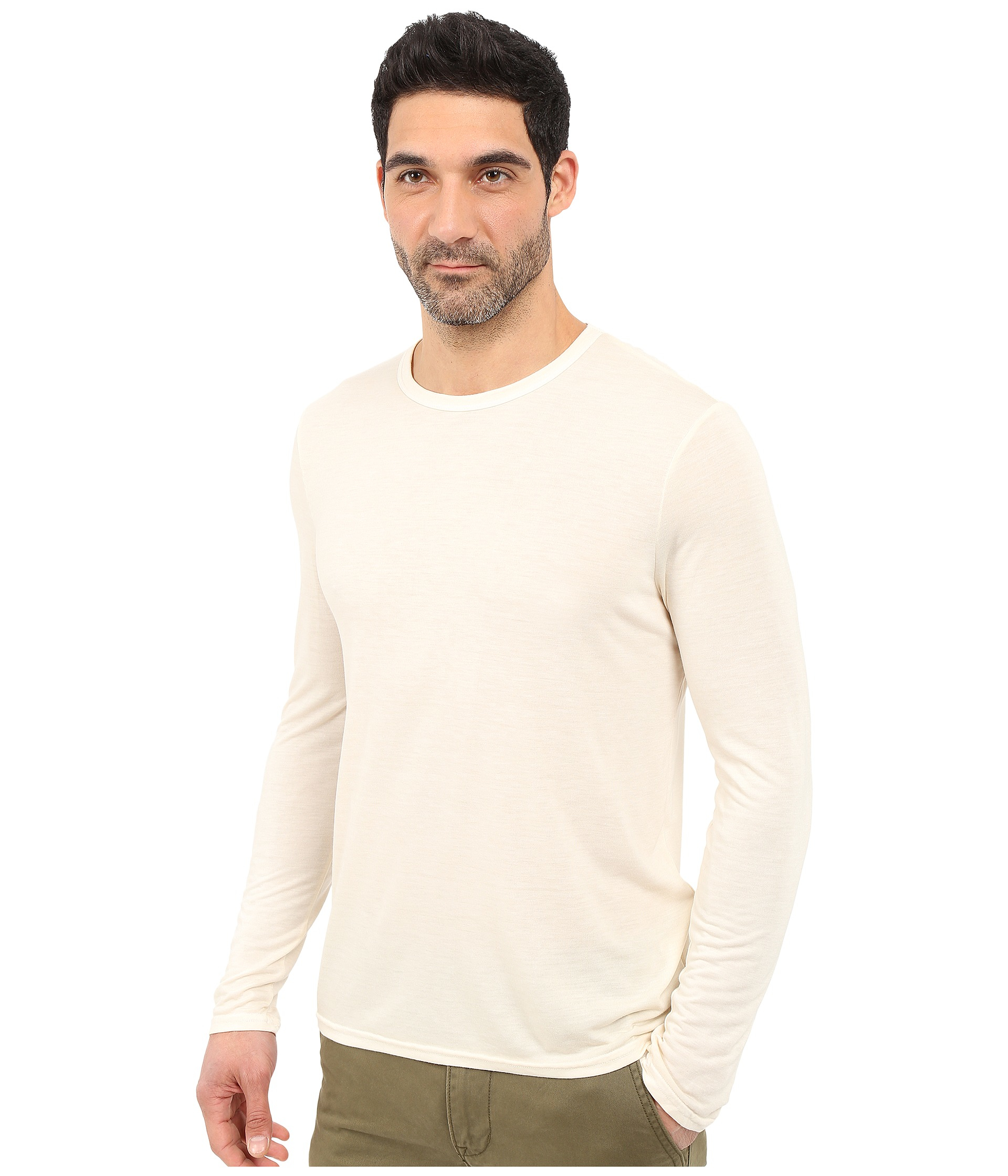 Michael stars long sleeve bamboo crew neck tee in white for Michael stars tee shirts