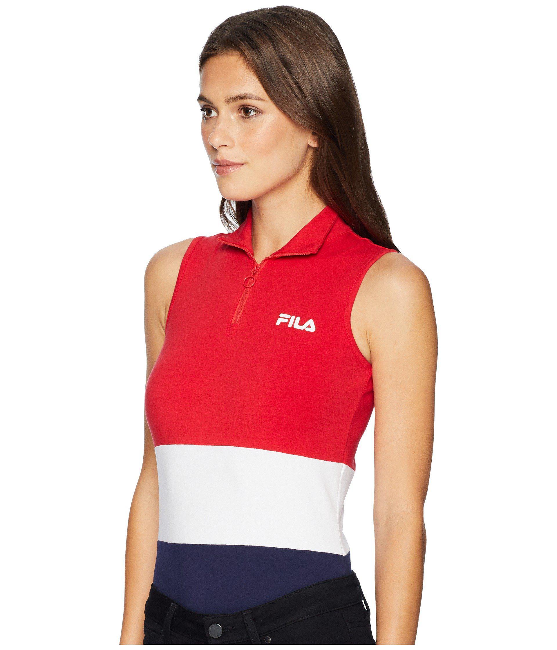 07098168b06 Lyst - Fila Bianca Bodysuit (skyway navy rio Red) Women s Jumpsuit   Rompers  One Piece in Red