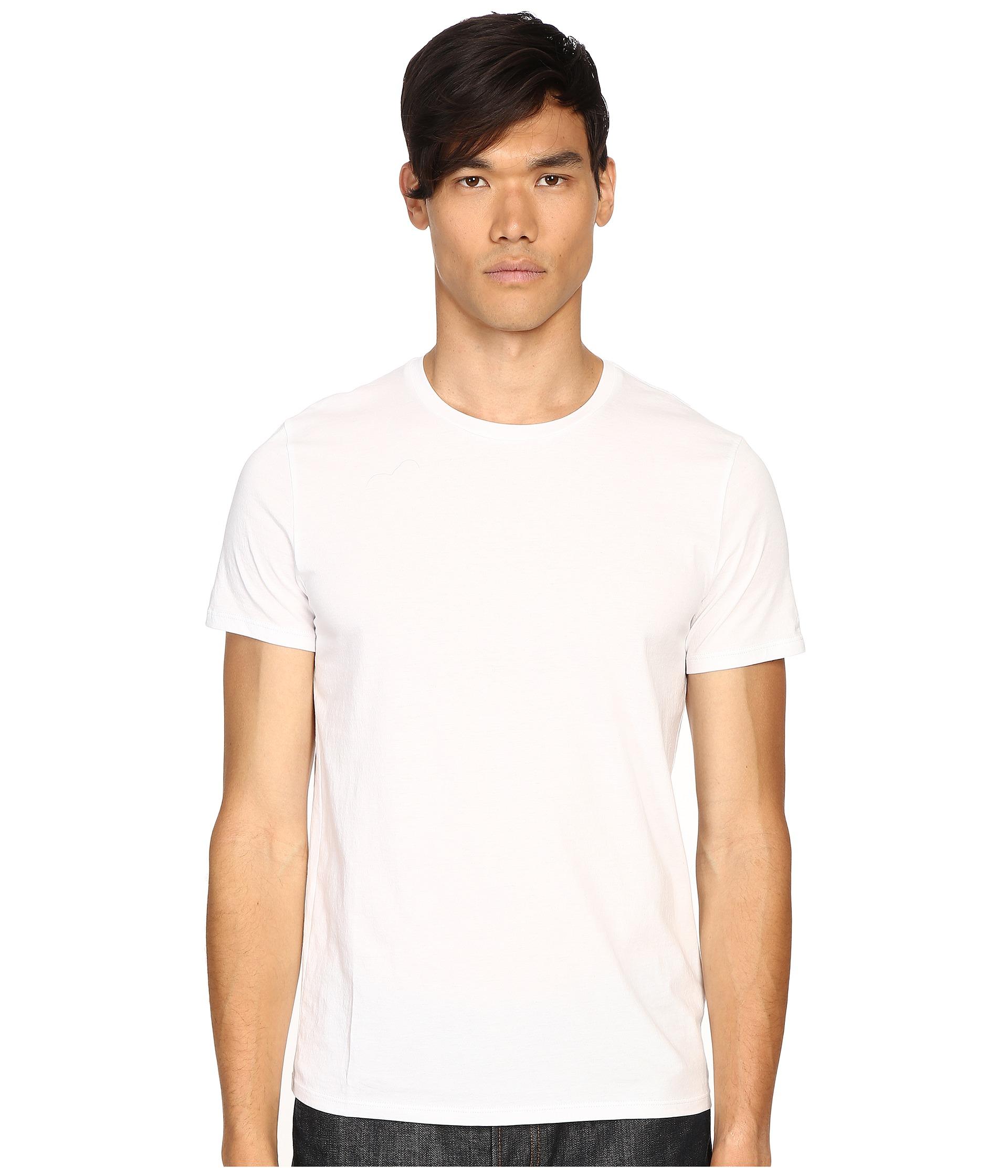 Vince short sleeve pima cotton crew neck shirt in white for Pima cotton crew neck t shirt