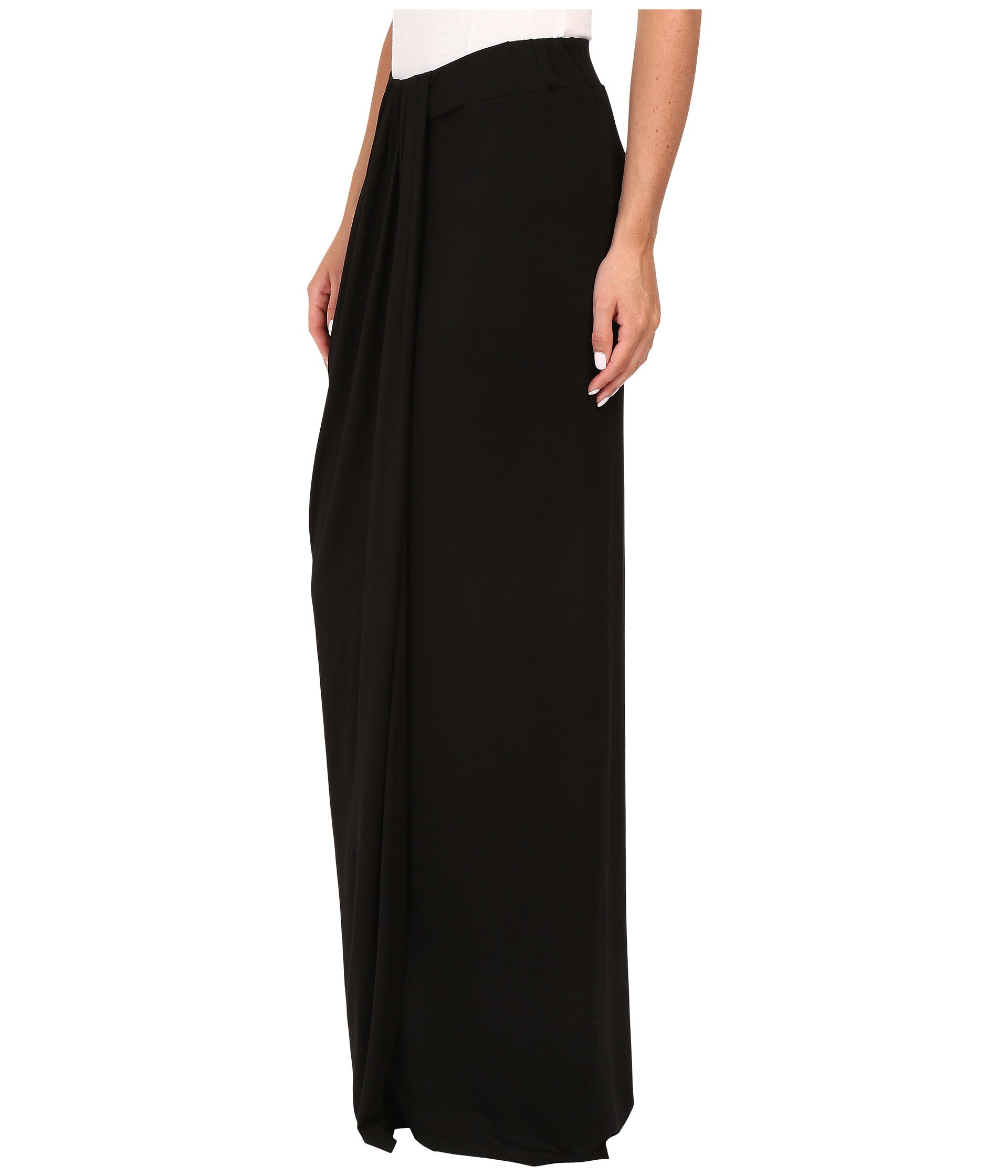 three dots maxi skirt w drape in black lyst