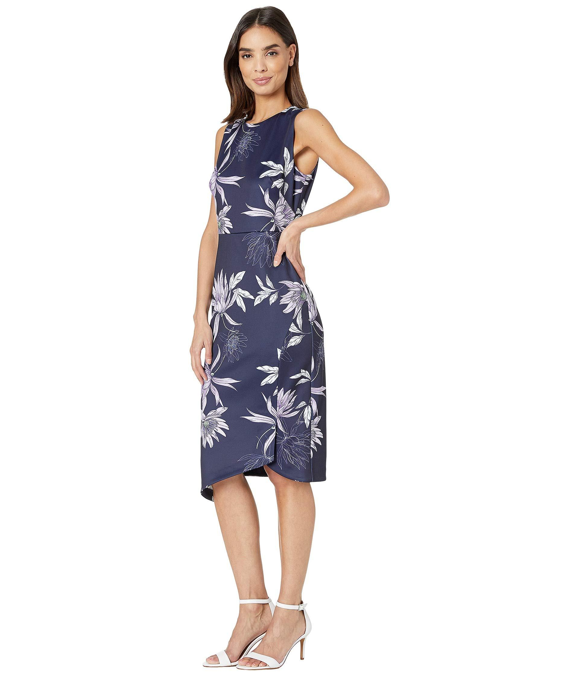 75a5b9ea Lyst - Vince Camuto Printed Scuba Bodycon Dress With Asymmetrical Hem (navy  Multi) Women's Dress in Blue