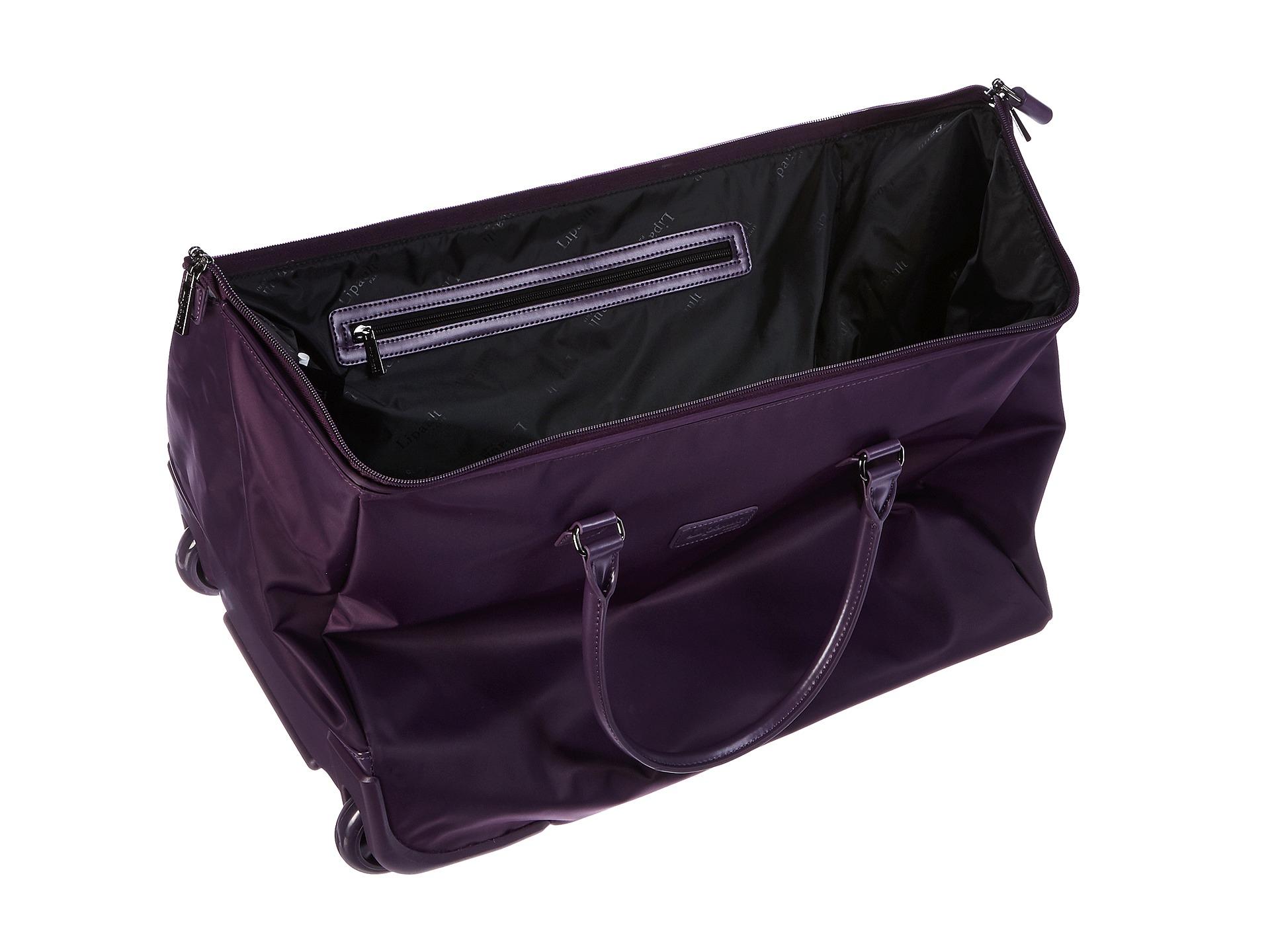 lipault lady plume wheeled weekend bag in purple