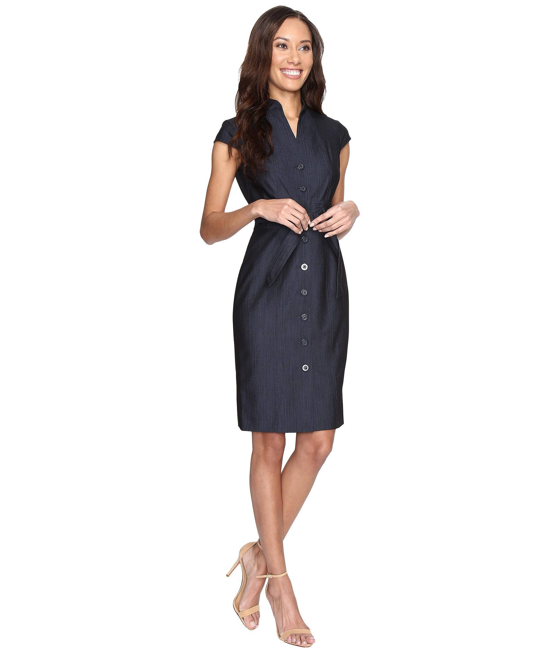 Calvin Klein Button Front Denim Sheath Dress Cd6d1y61 In