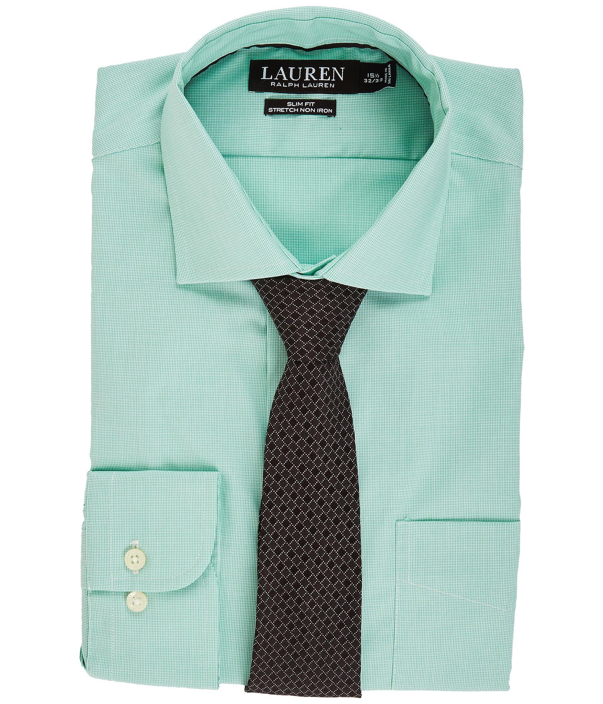 Lauren by ralph lauren non iron poplin stretch slim fit for Non iron slim fit dress shirts