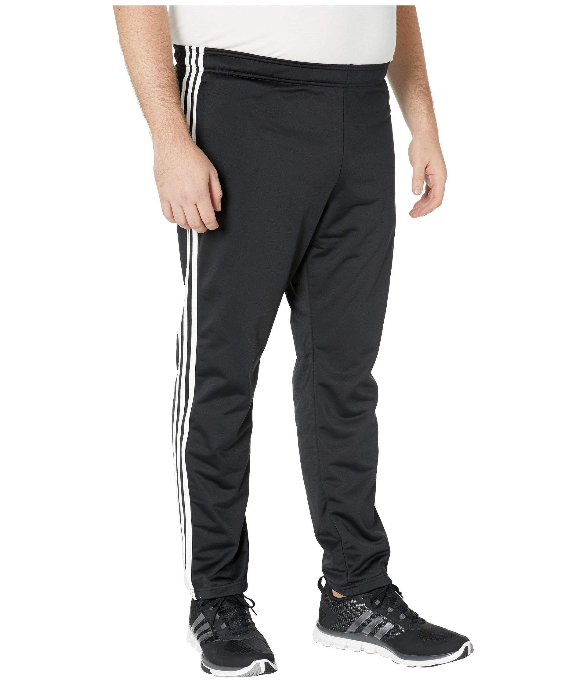 Adidas Big Tall Essentials 3 stripe Tricot Open Hem Pants (blackblack) Men's Workout for men