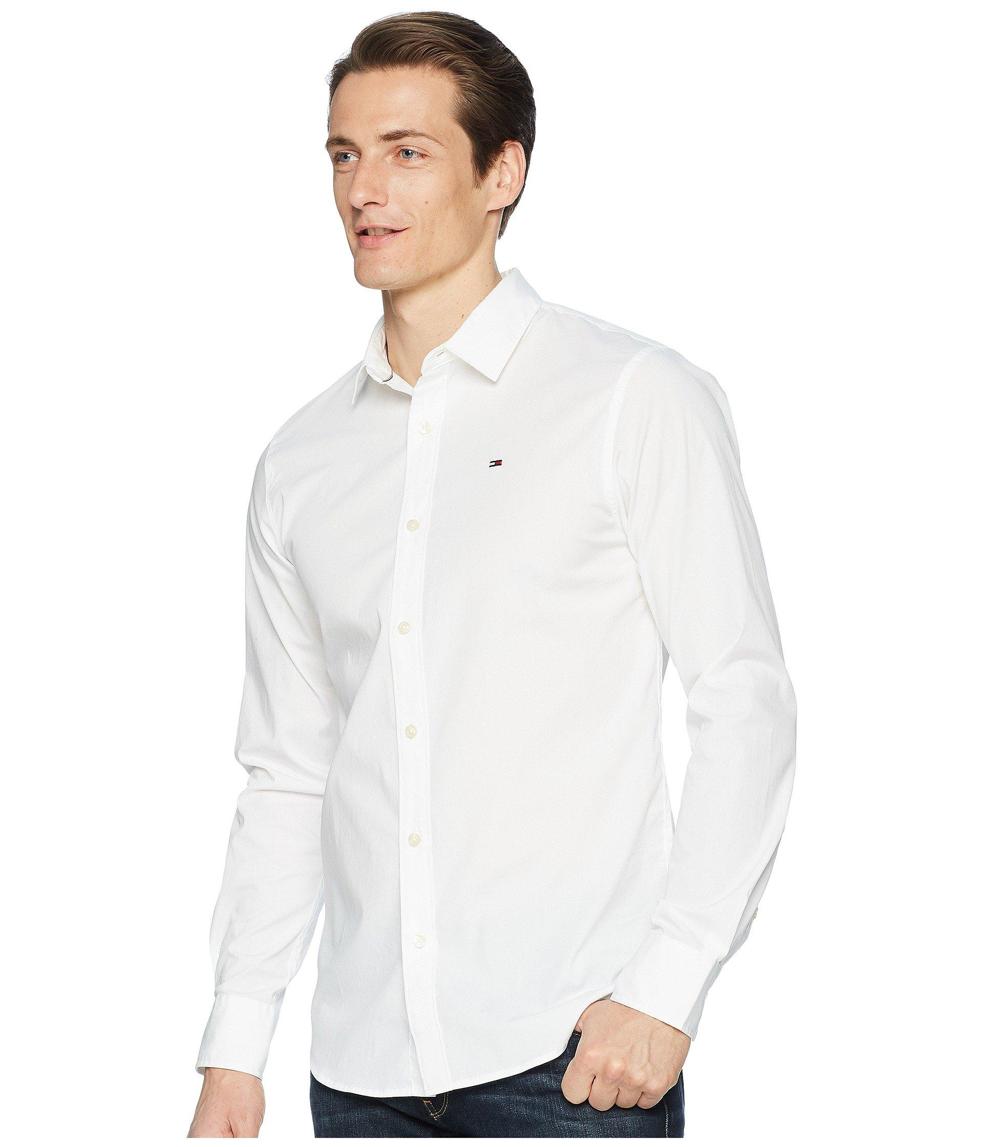 1f80a5ab Tommy Hilfiger Stretch Long Sleeve Button Down Shirt (black Iris) Men's Long  Sleeve Button Up in White for Men - Save 65% - Lyst