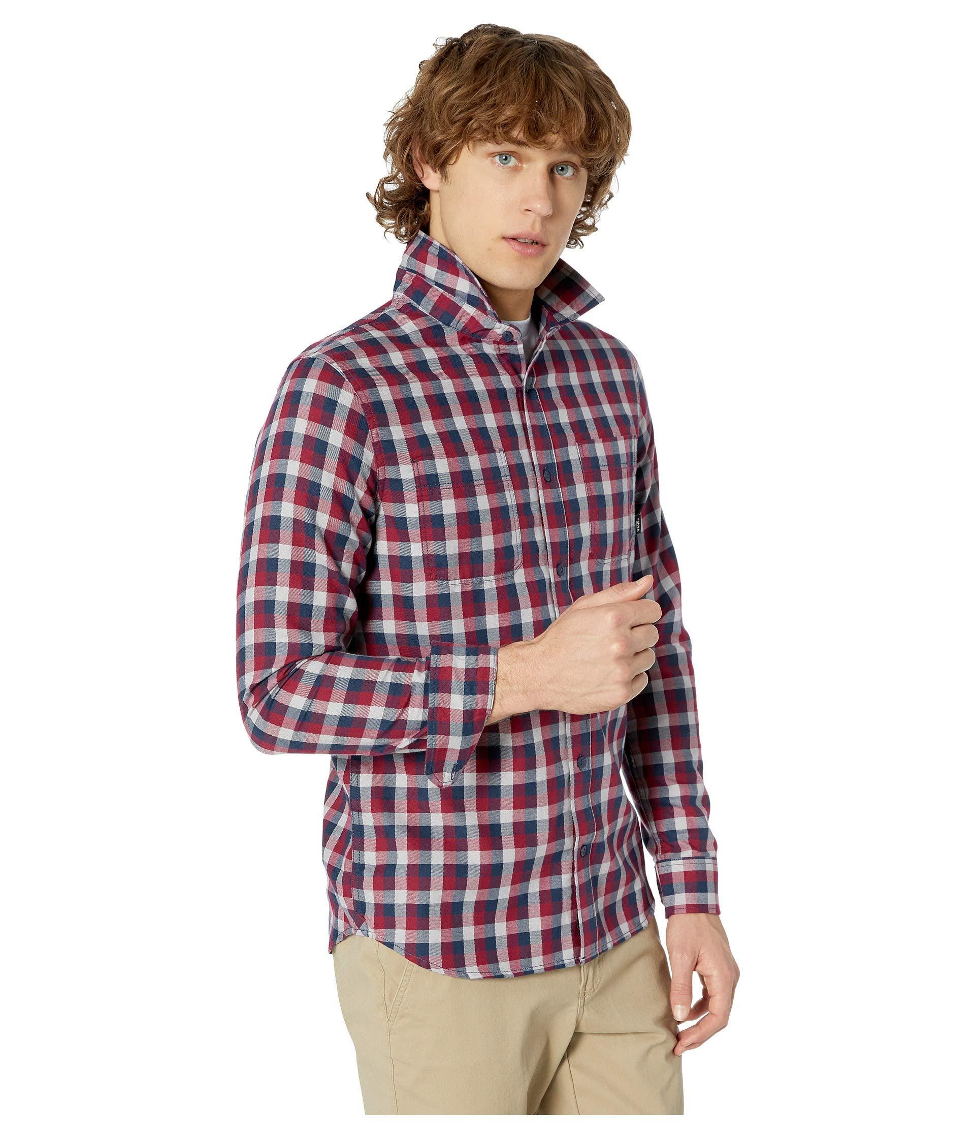 90795238 Vans Alameda Ii Long Sleeve Woven Top (rhumba Red/dress Blues) Men's Long  Sleeve Button Up for men