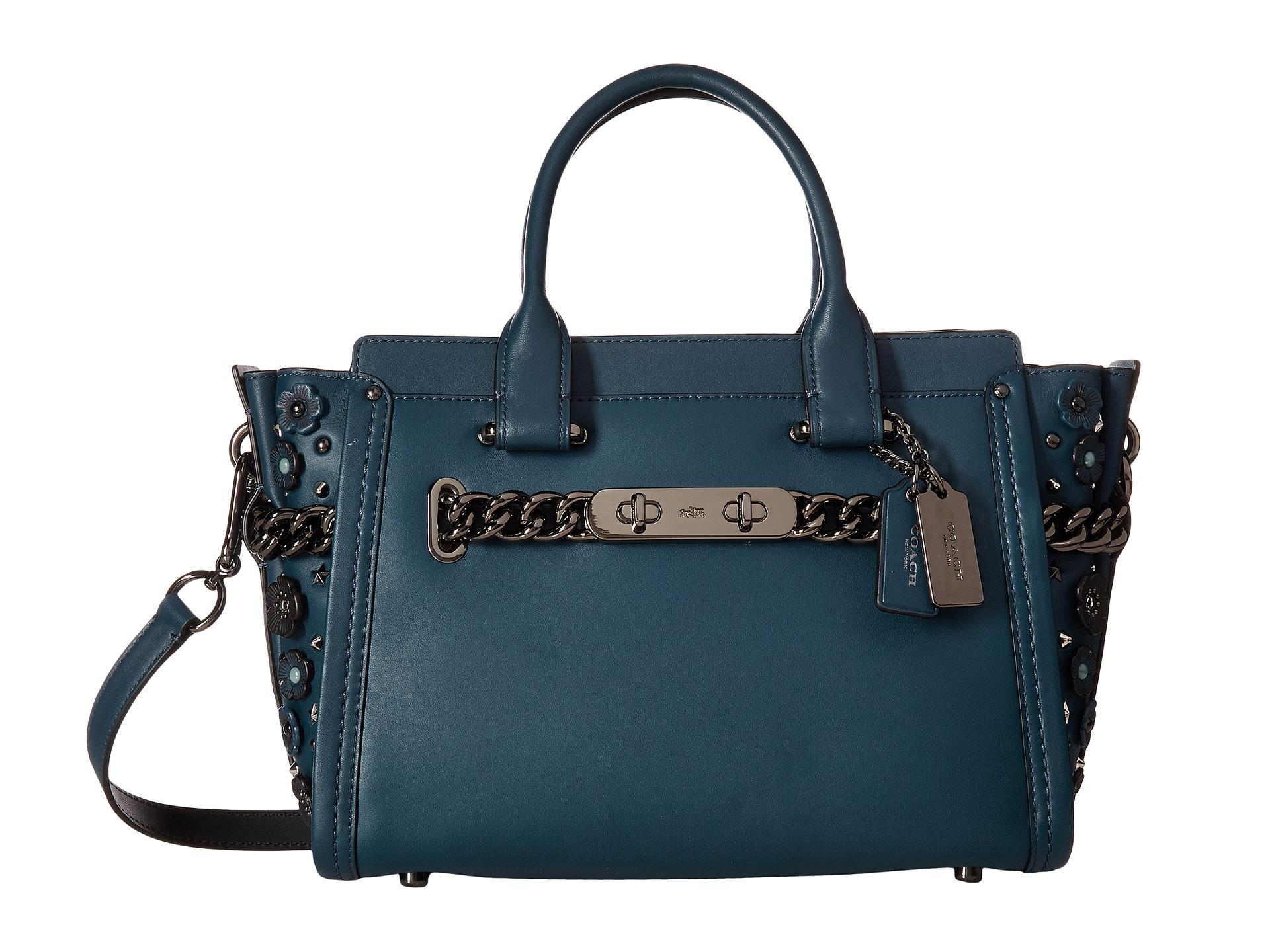 3cabef3b2d6e Lyst - COACH Willow Floral Detail Swagger 27 in Blue